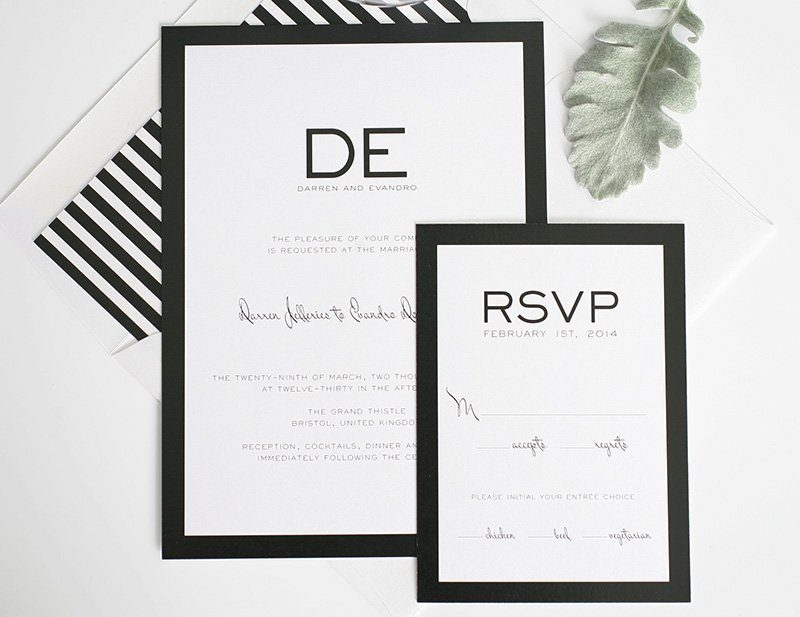 black white striped wedding invitations