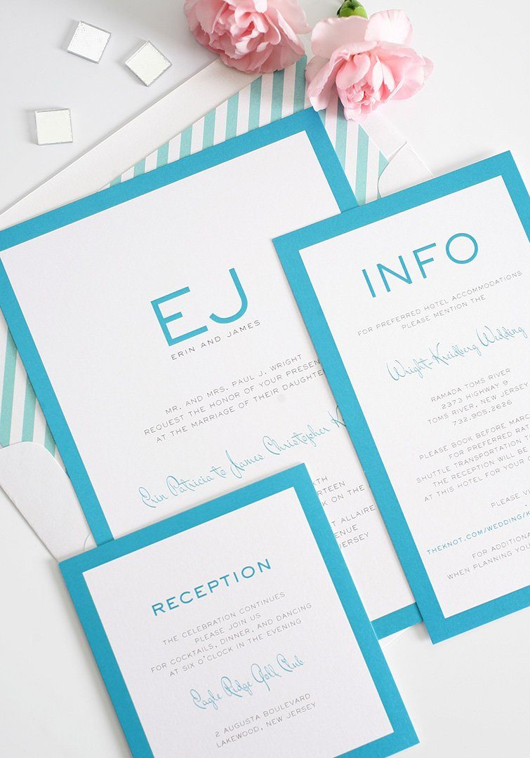 blue wedding invitations with monogram