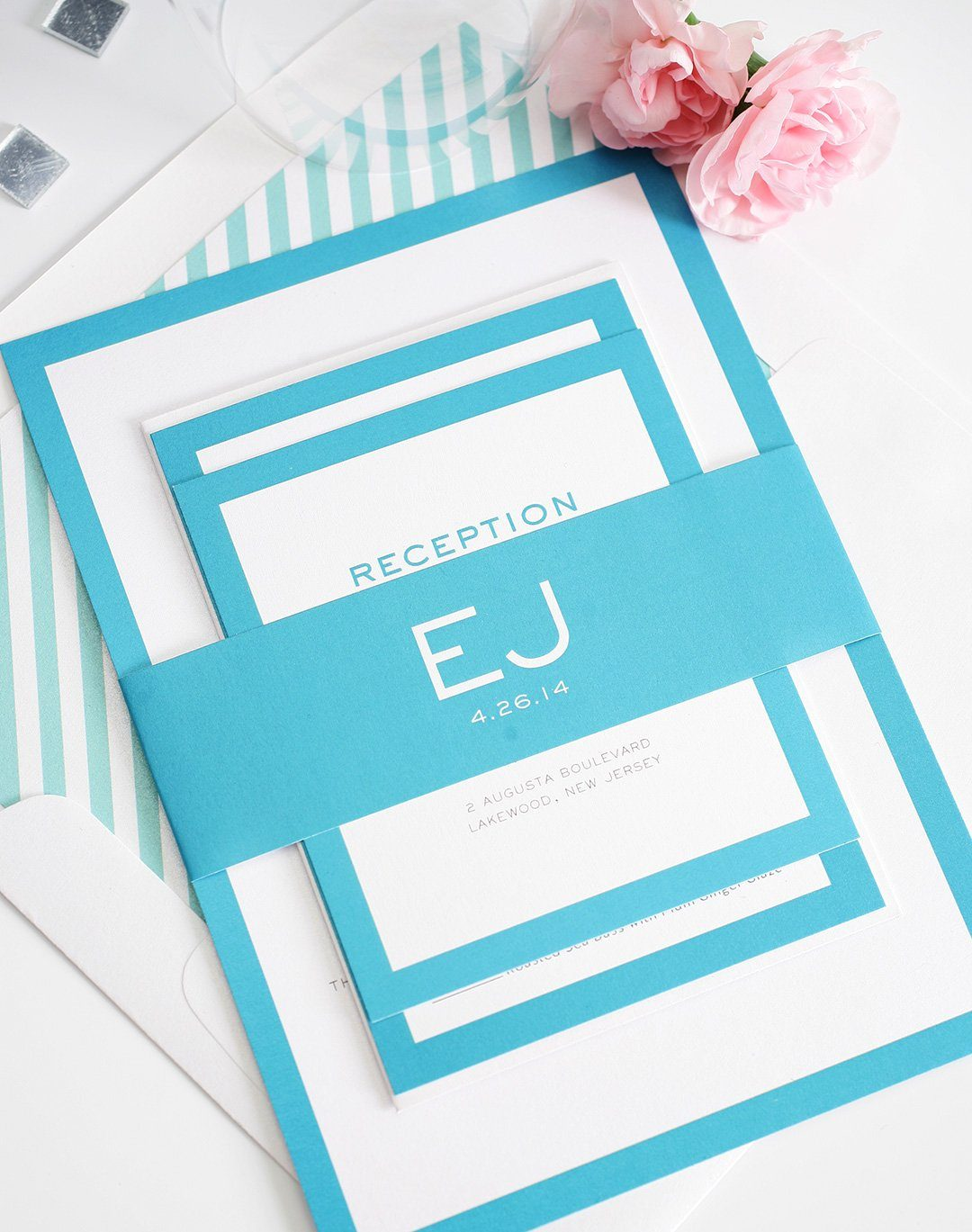 Modern Wedding Invitations in Pool Blue Wedding Invitations