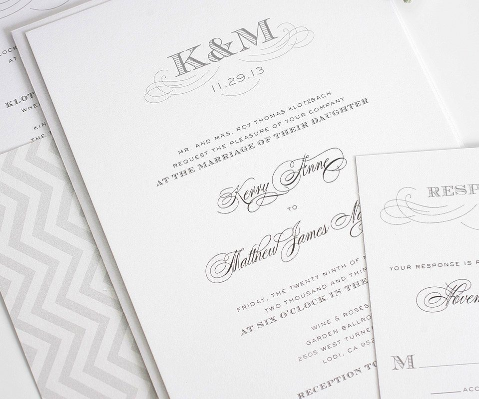 classic wedding invitations in gray