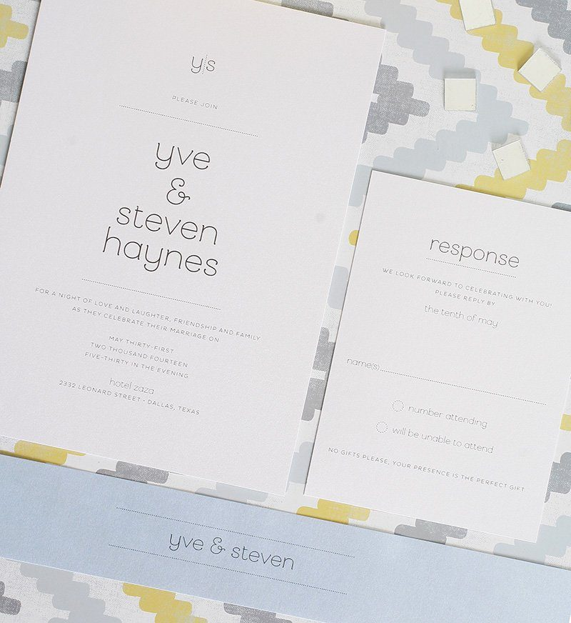 modern wedding invitations with dotted accents