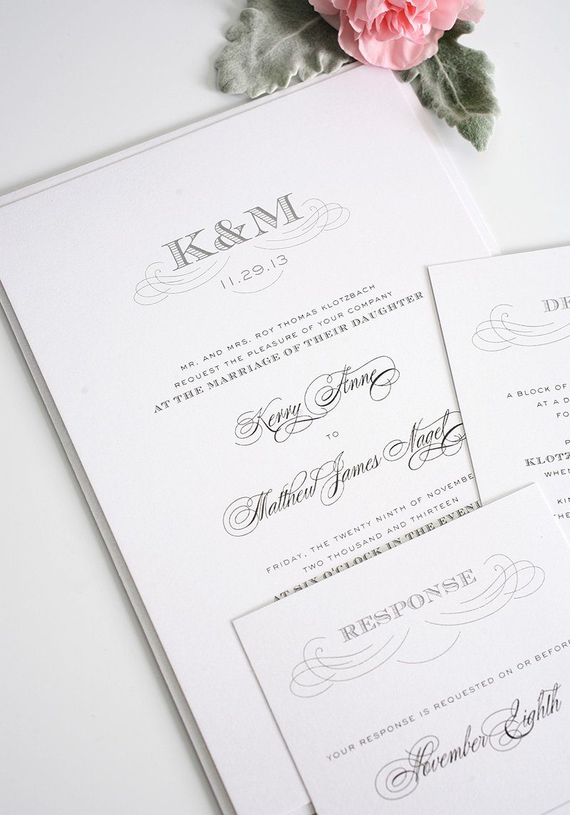 Monogram Wedding Invitations in Gray
