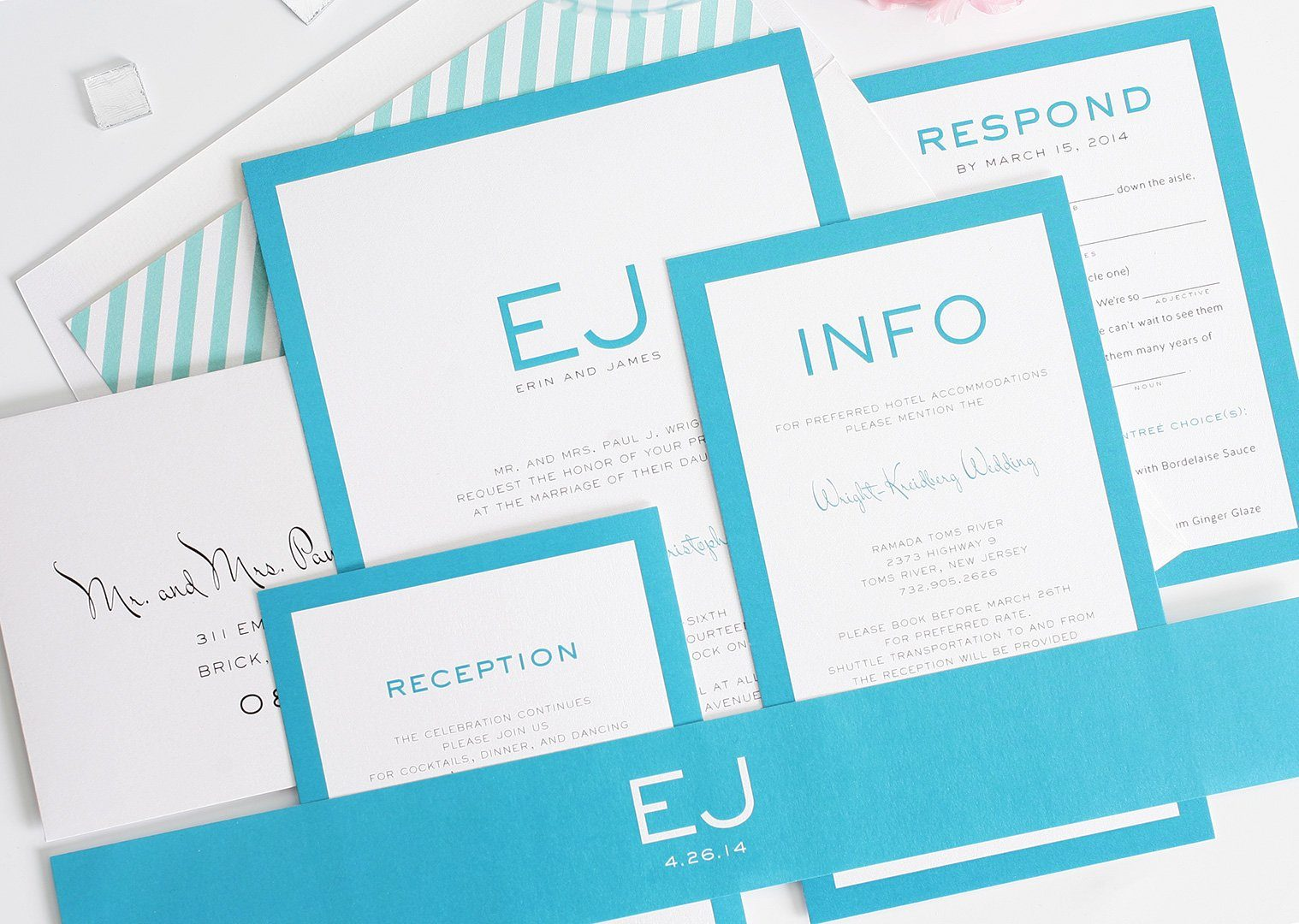 Pool blue wedding invitations with monogram
