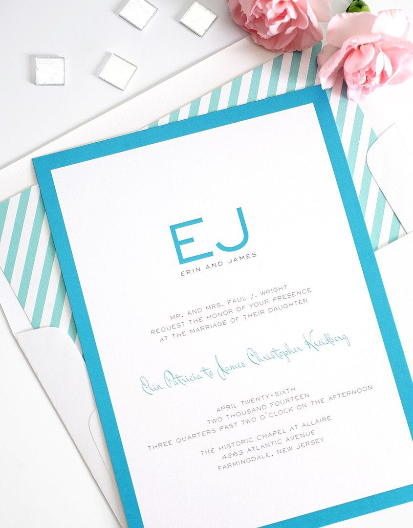 Pool blue wedding invites