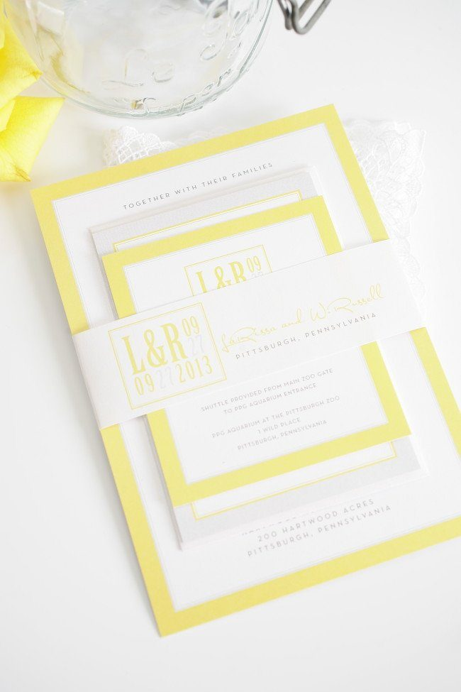 Modern wedding invitations in yellow