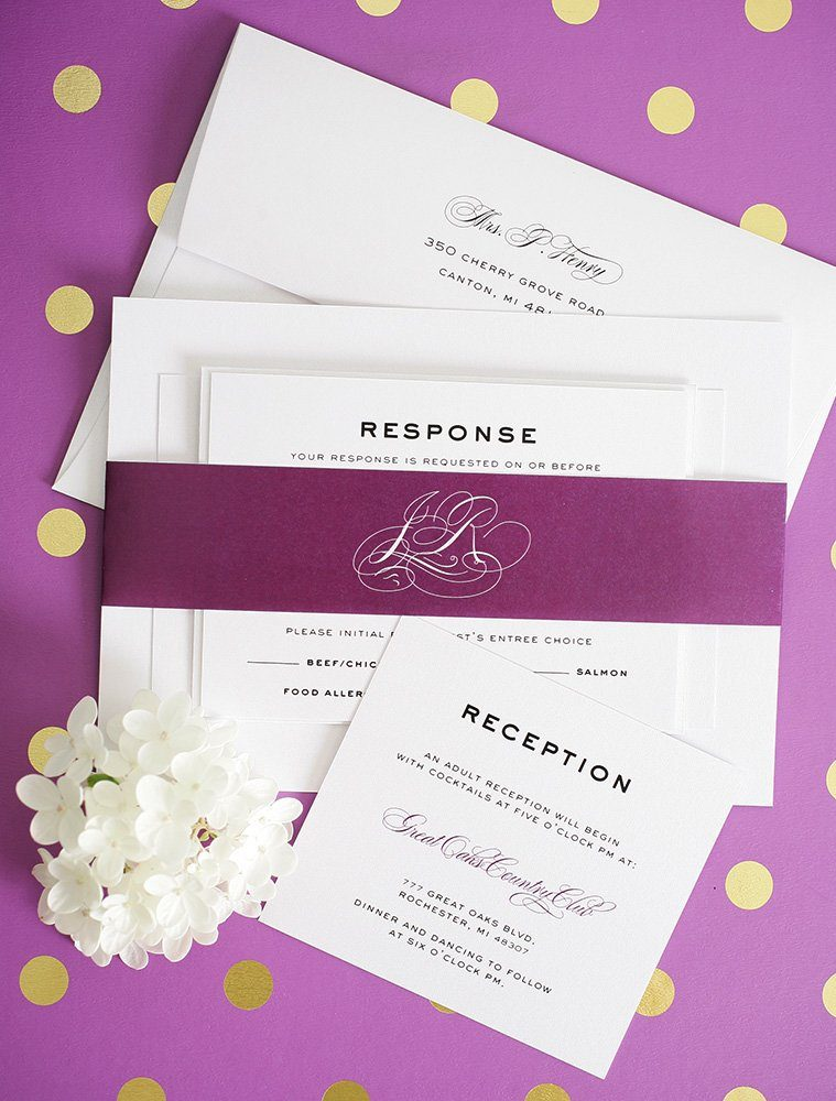 Classic Wedding Invitations with script names