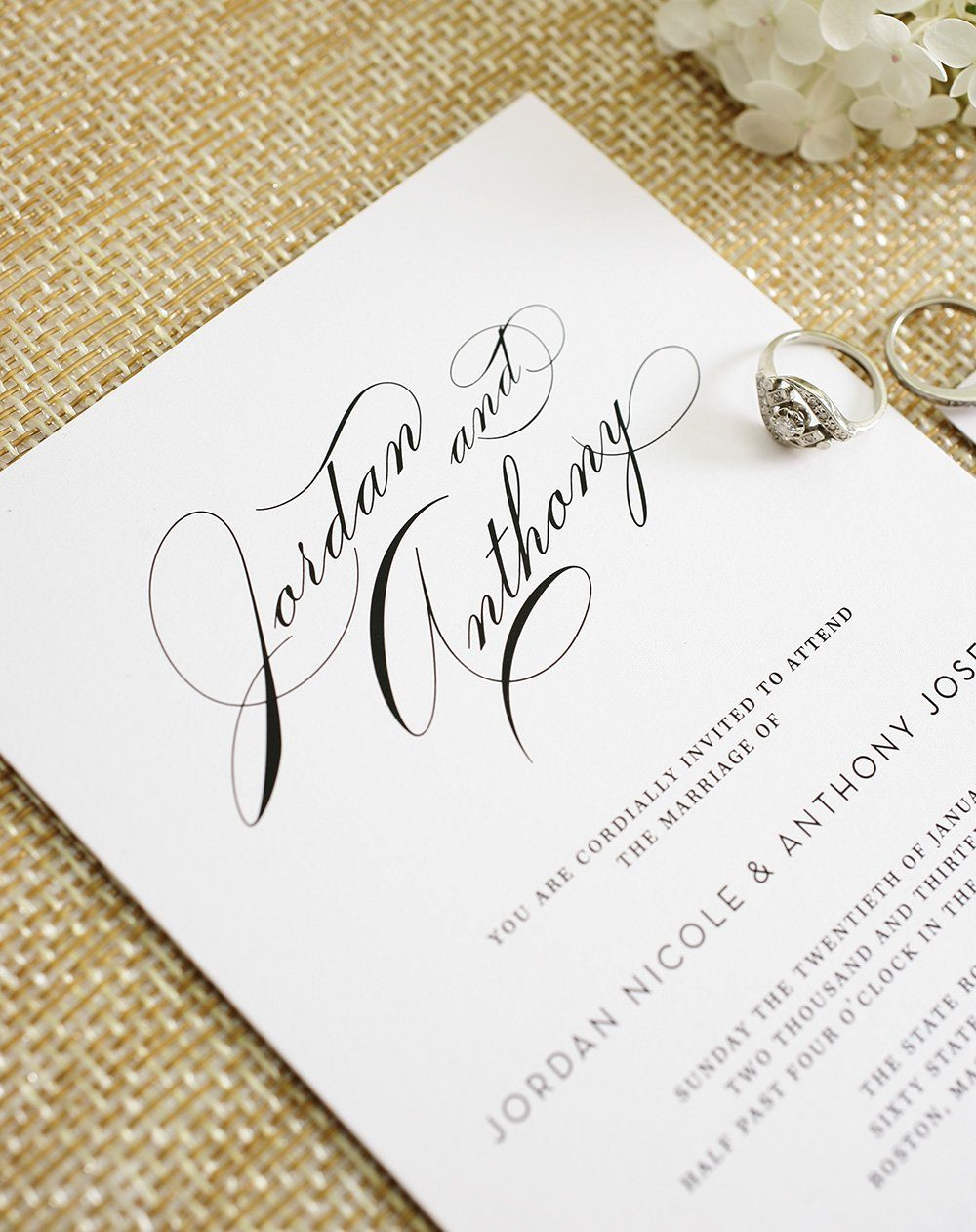 Classic Wedding Invitations with Big Script Names