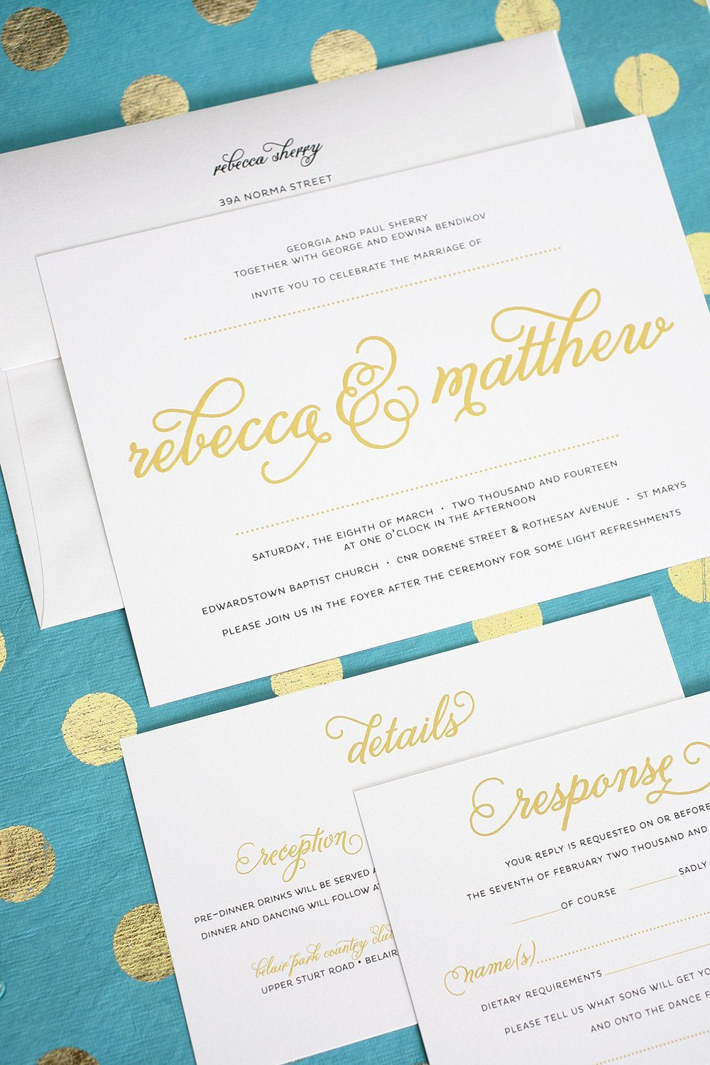 Modern Wedding Invitations in Gold – Wedding Invitations