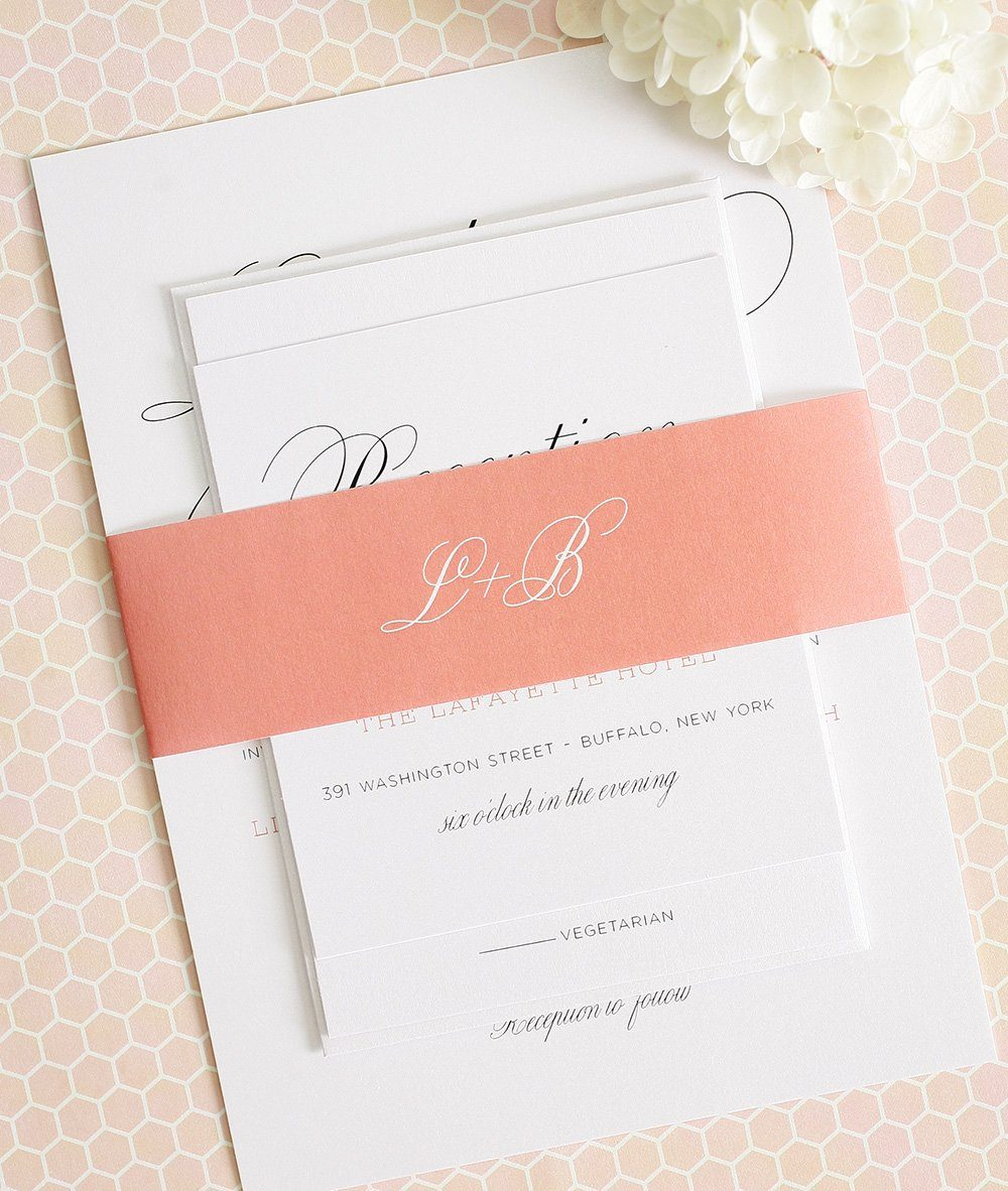 Large script wedding invitations wedding invitations peach wedding invitations monicamarmolfo Image collections