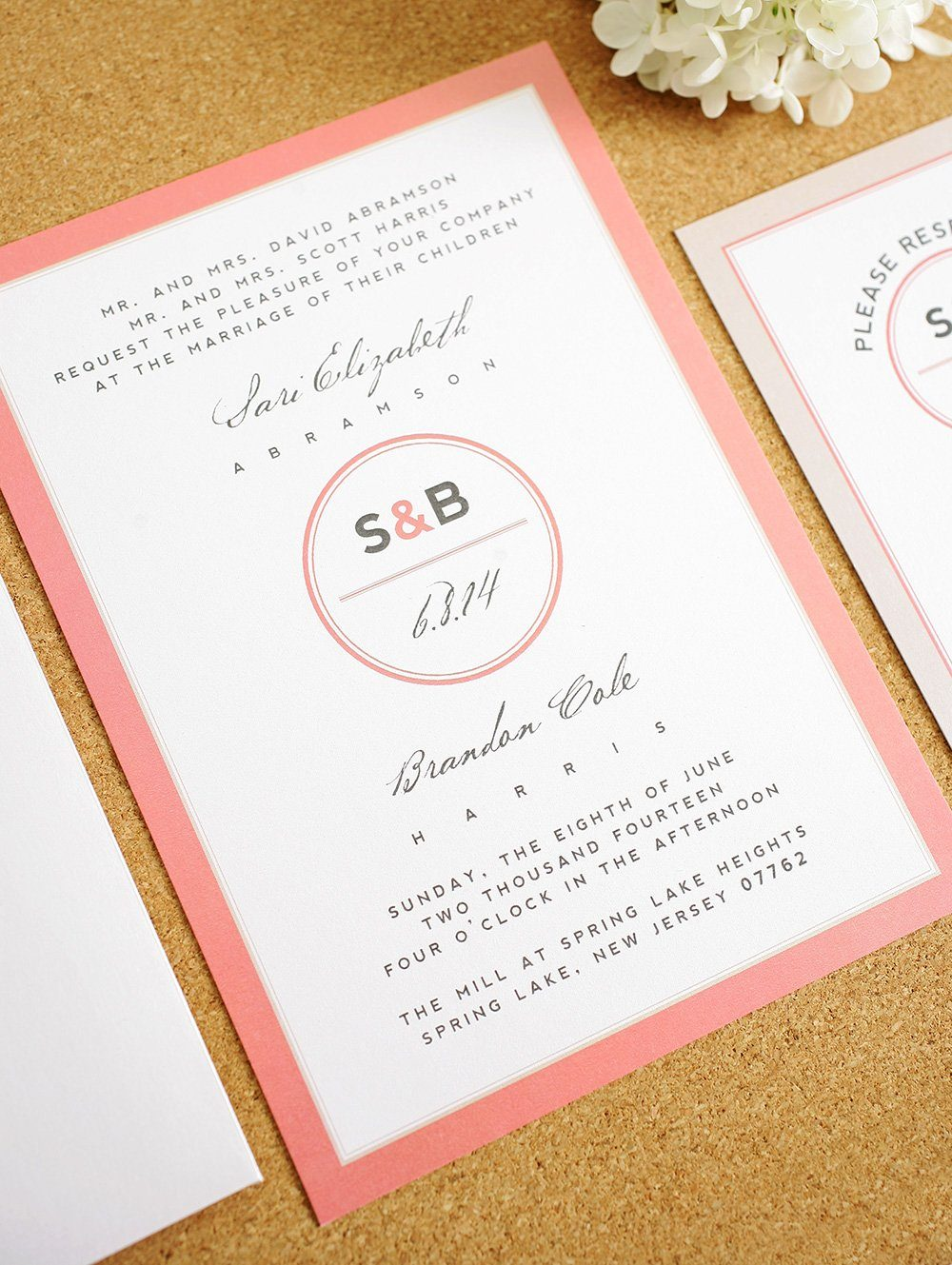 modern wedding invitations with monogram