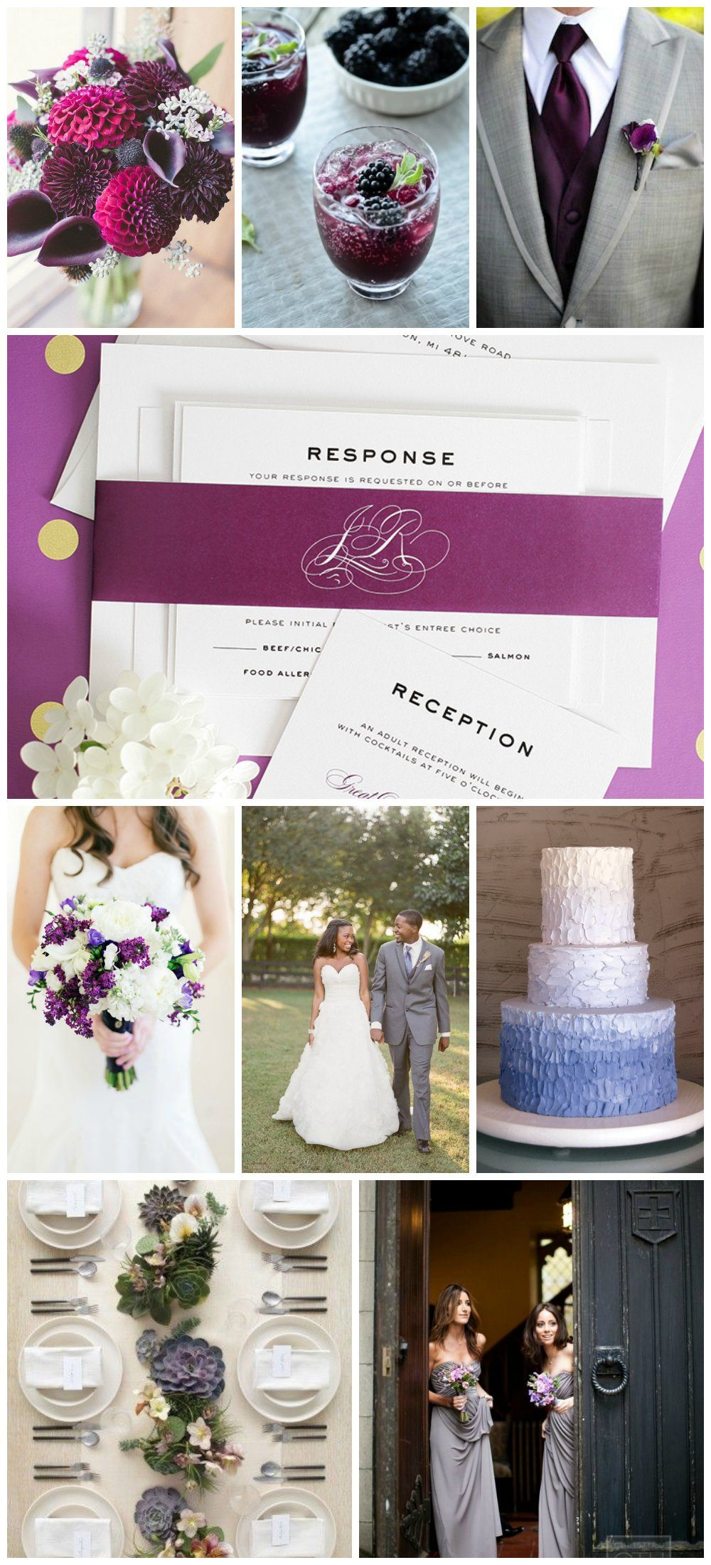 Gray and purple wedding inspiration