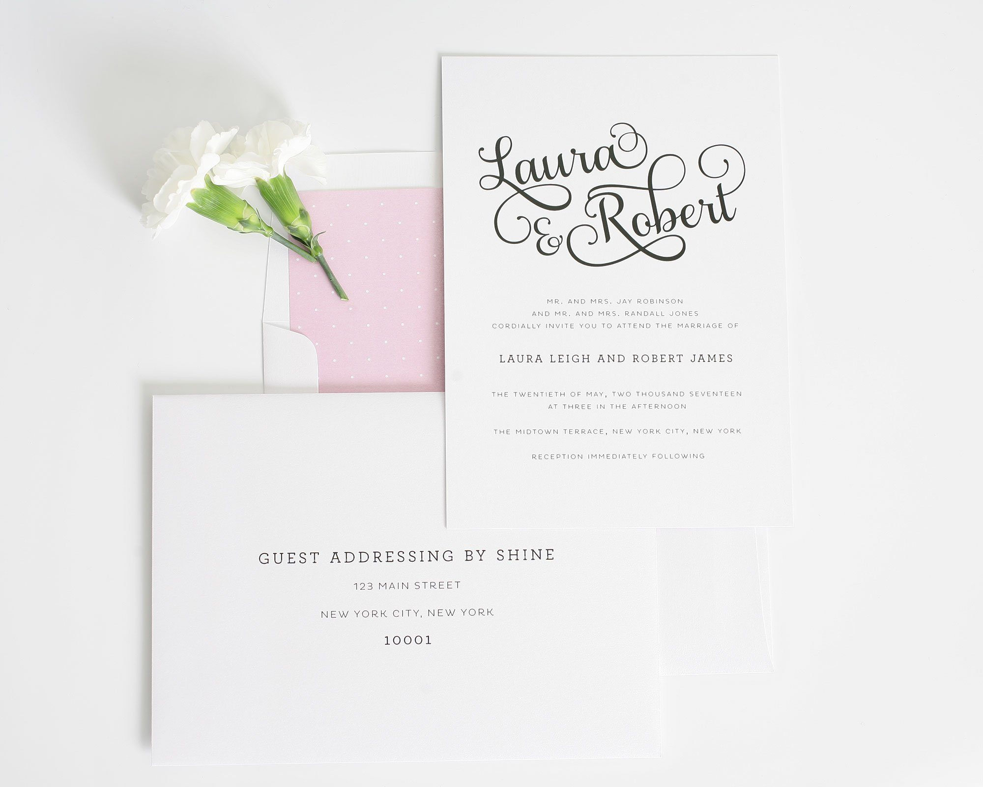 Sweet and romantic wedding invitations with large script wedding romantic wedding invitations pink wedding invitations monicamarmolfo Image collections