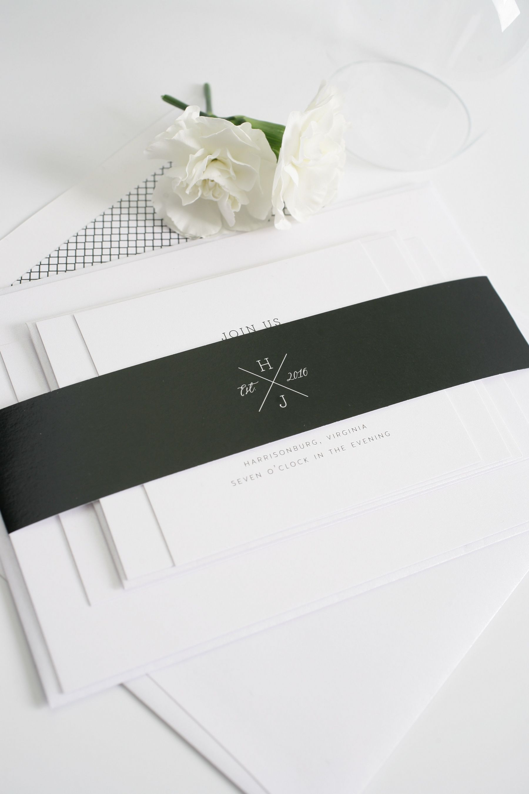 black monogram wedding invitations
