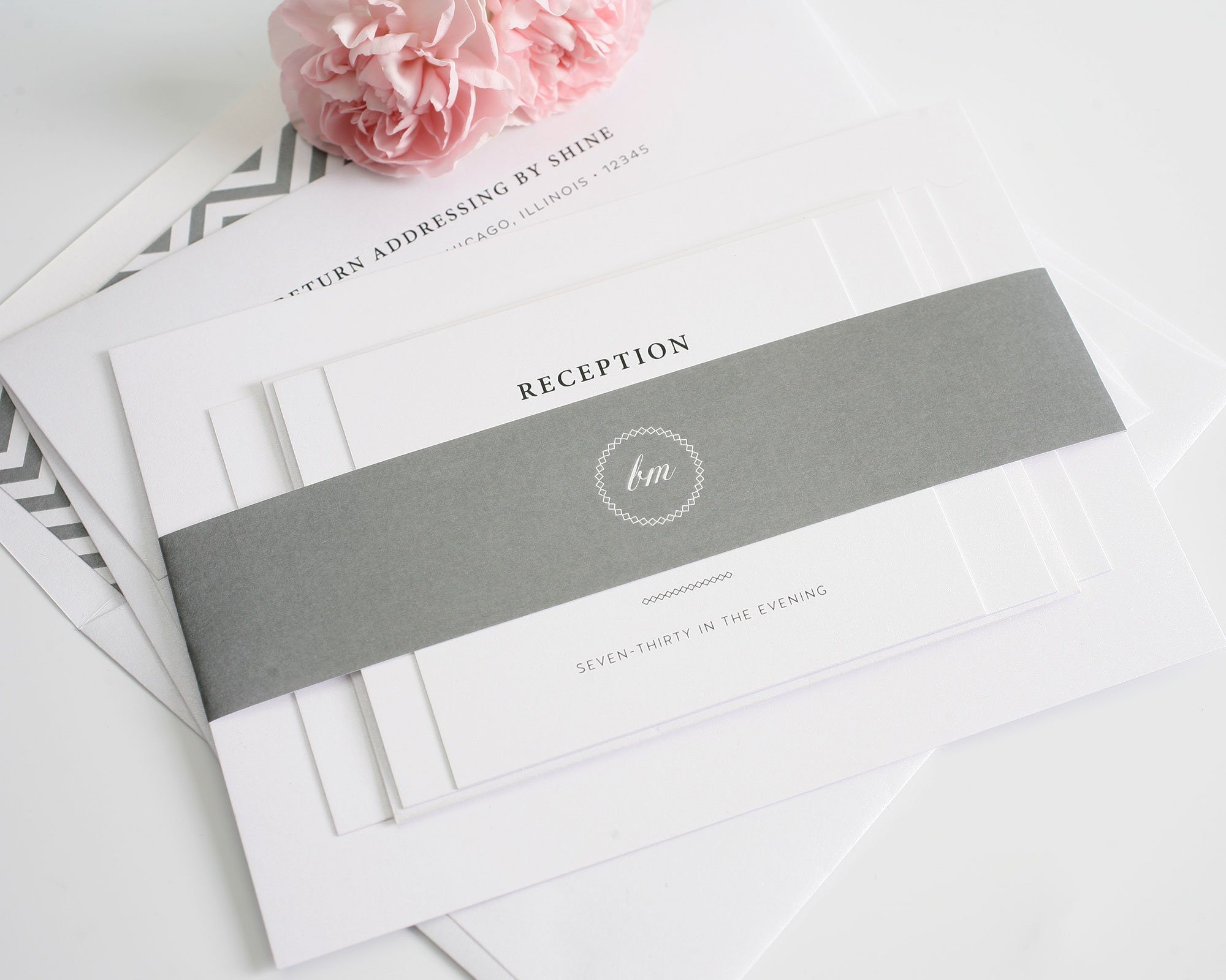 gray theme wedding invitations