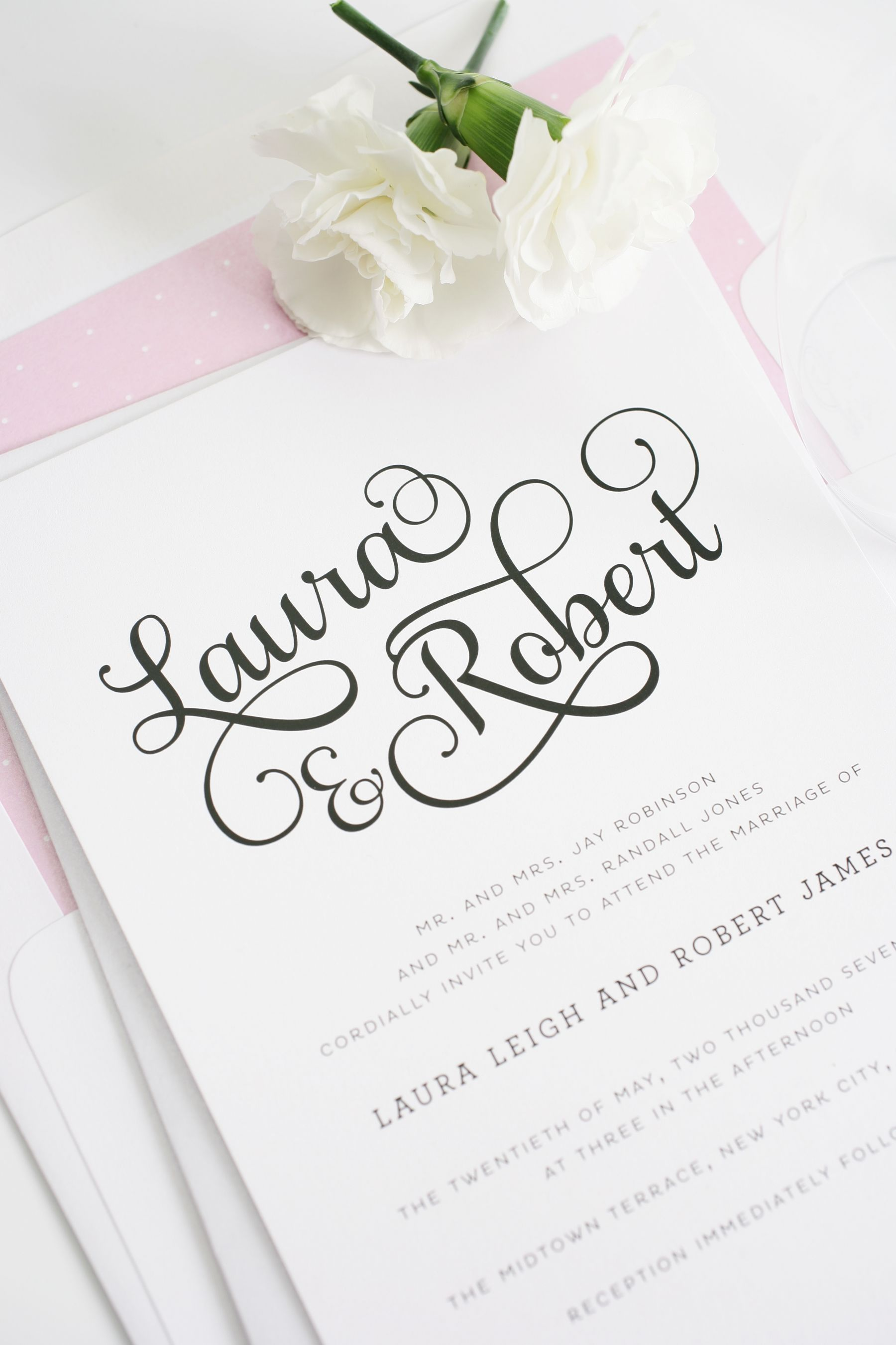 Sweet and romantic wedding invitations with large script wedding polka dot wedding invitations monicamarmolfo Image collections