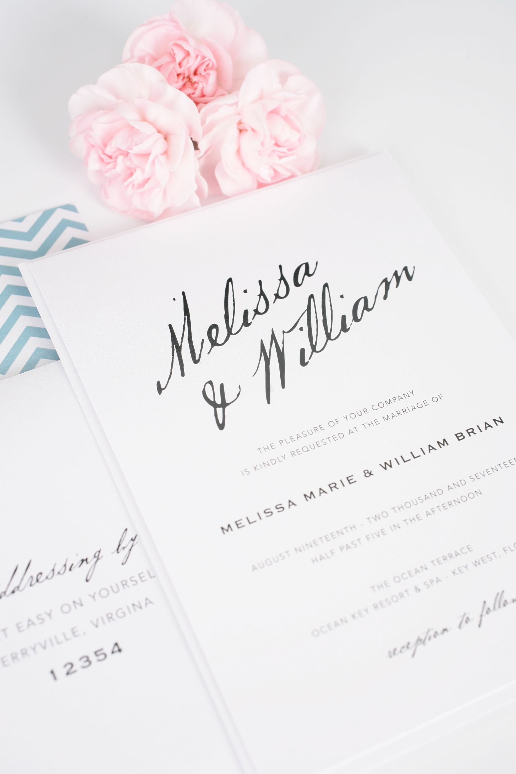 Modern Calligraphy Wedding Invitations : Wedding Invitations with Modern Calligraphy - Wedding Invitations