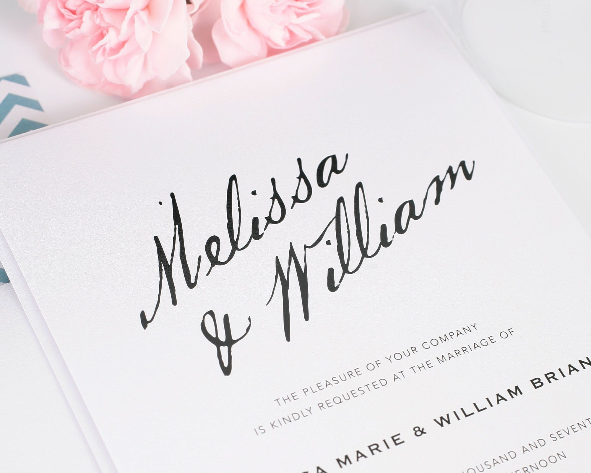 Wedding invitations with modern calligraphy