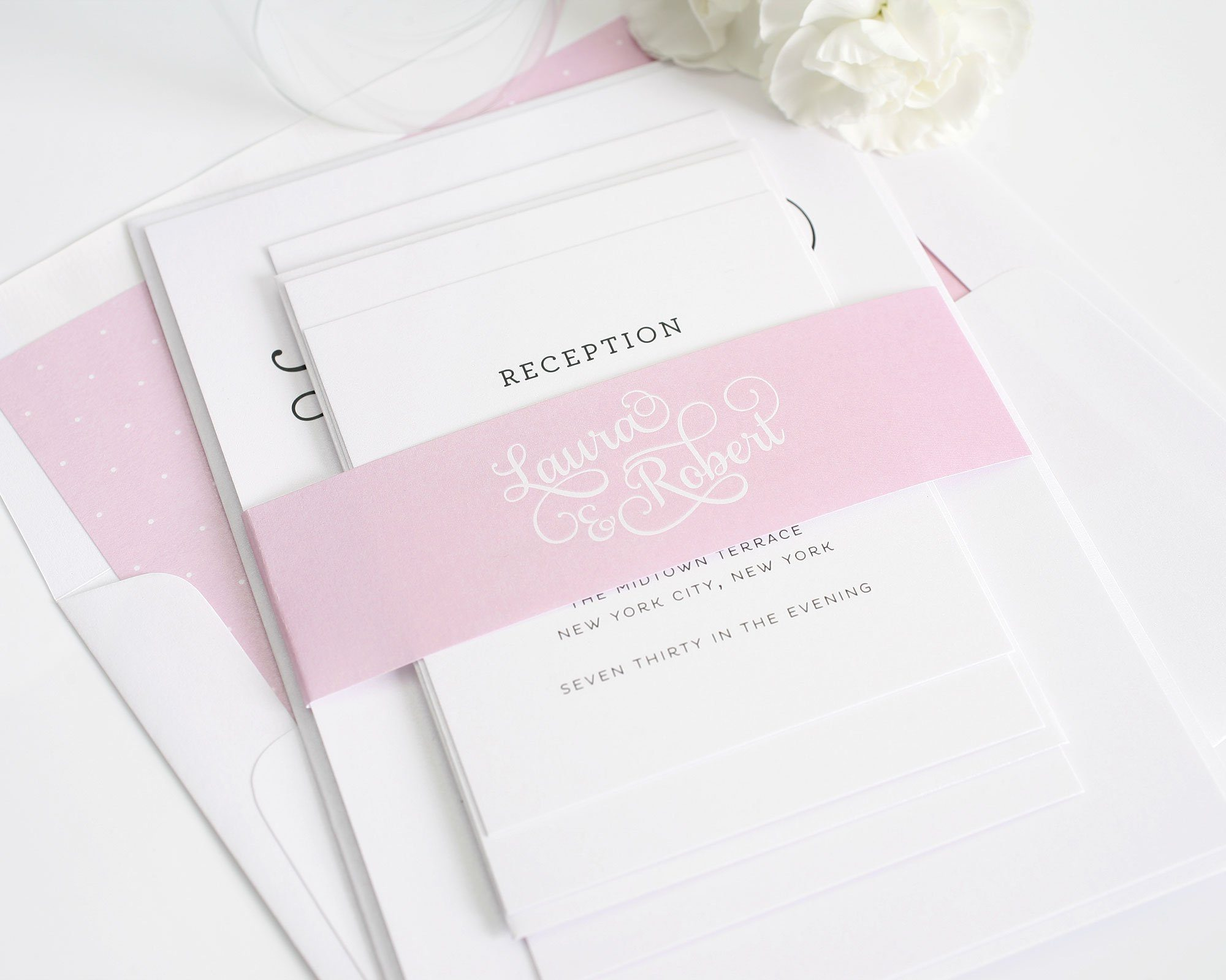 Sweet and romantic wedding invitations with large script wedding elegant pink wedding invitations monicamarmolfo Image collections
