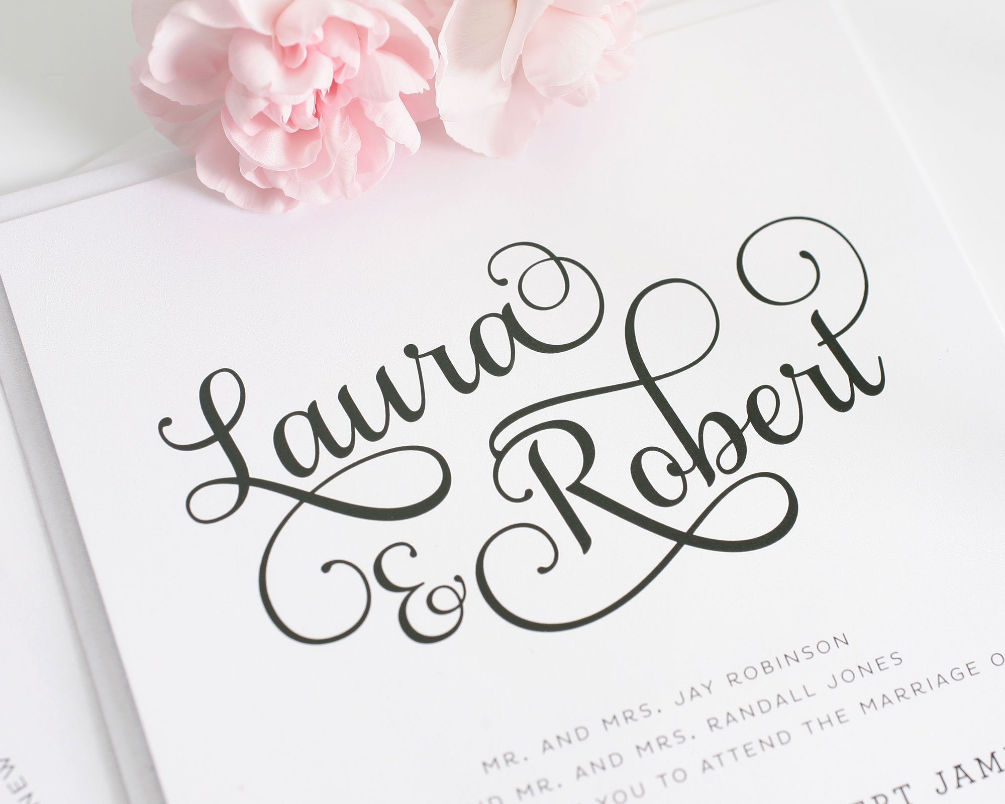 romantic wedding invitations with large script wedding invitations