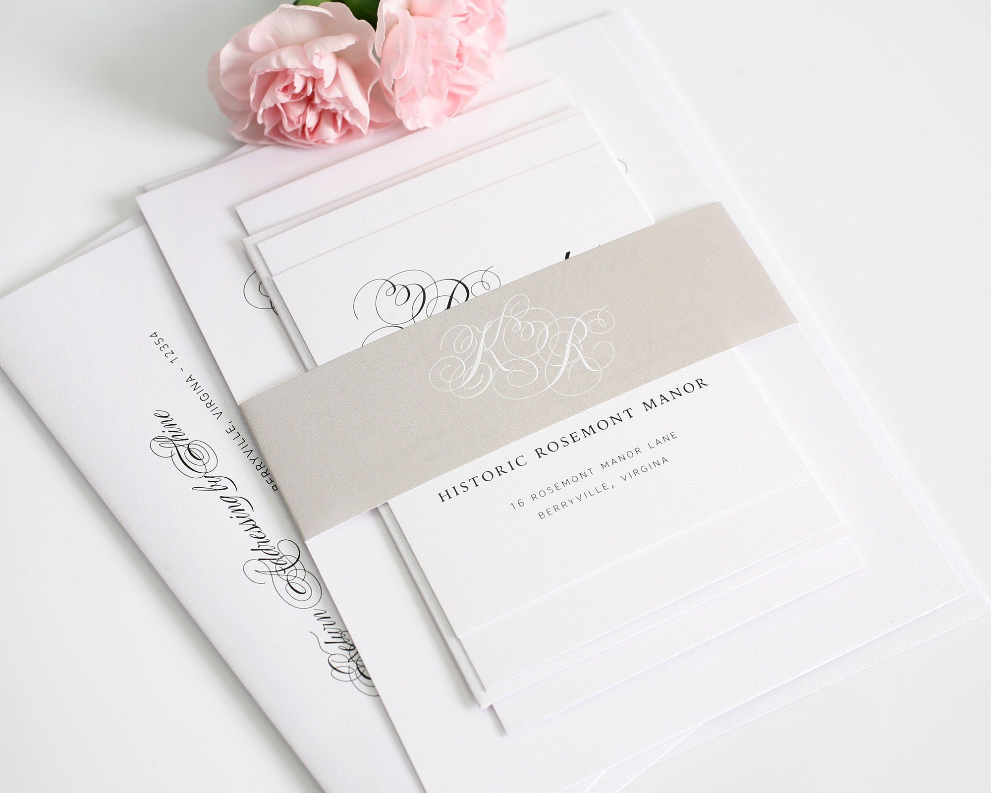 wedding invitations in taupe