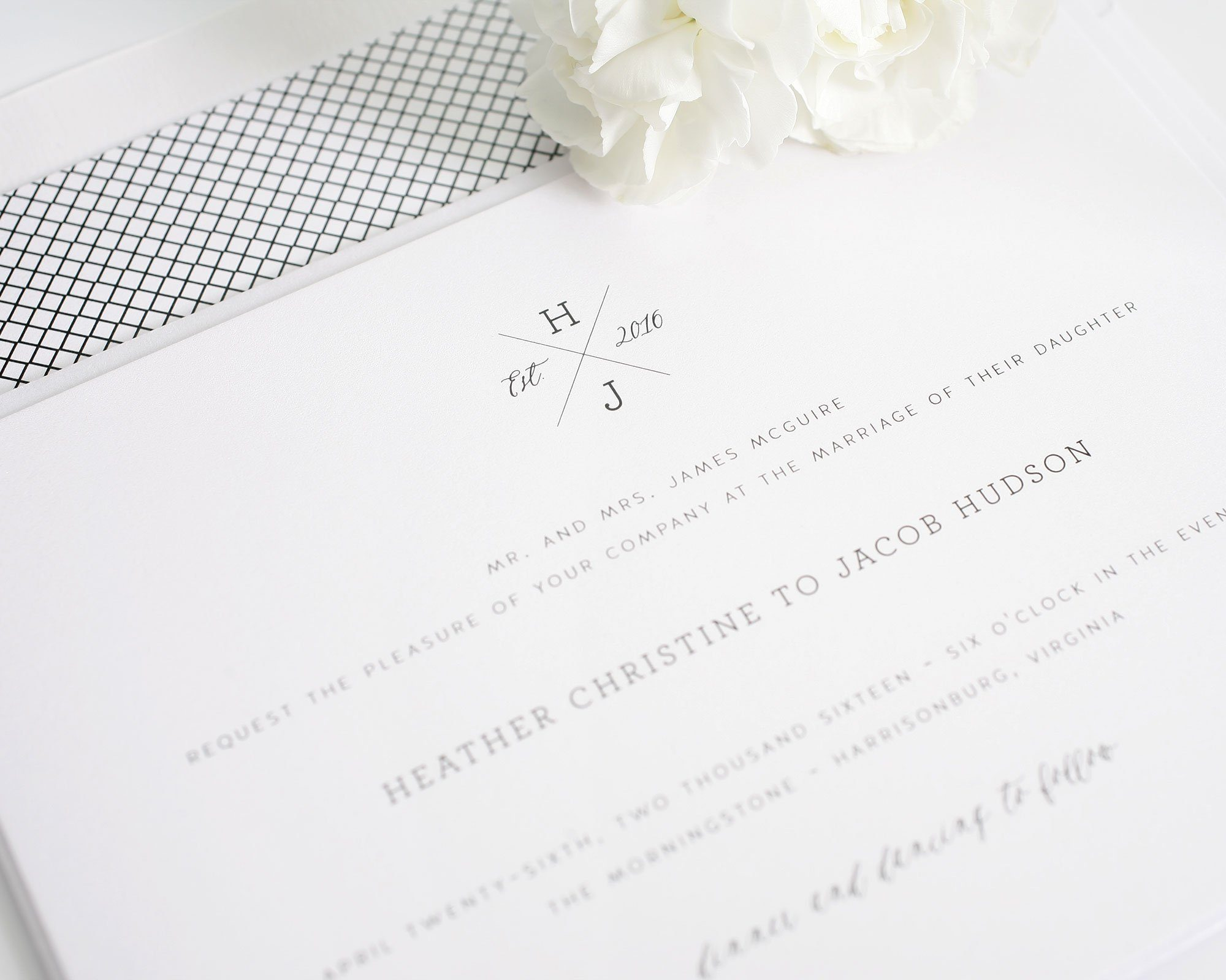 crosshatch wedding invitations