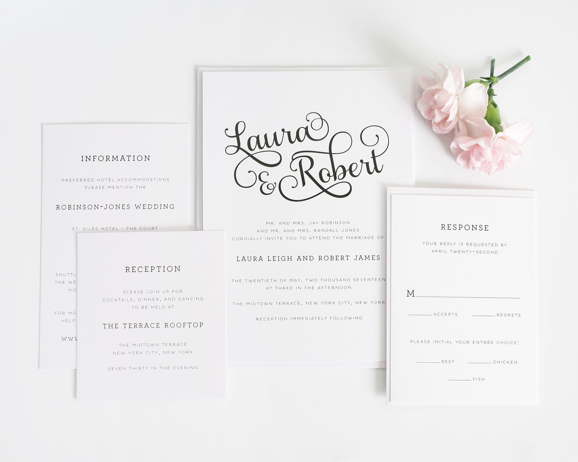 Sweet and Romantic Wedding Invitations with Large Script – Wedding ...