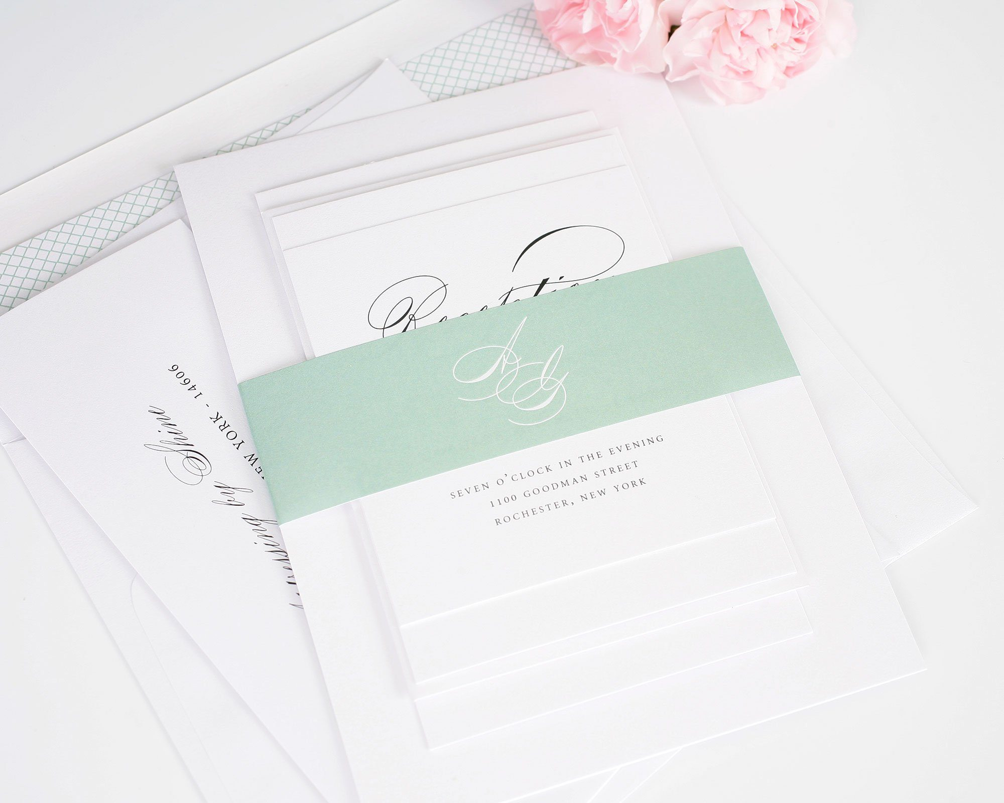 light green wedding invitation