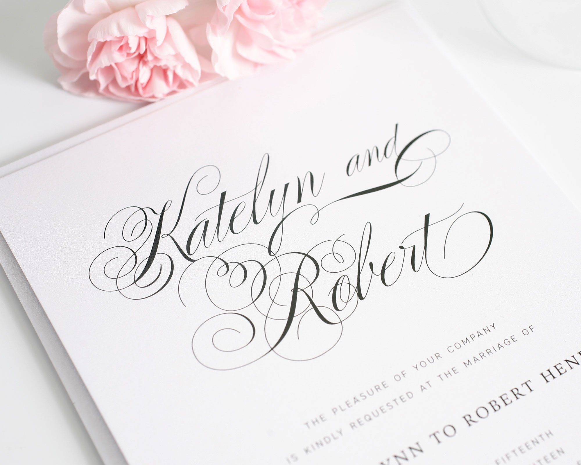 Wedding invitations with southern flare wedding invitations large script wedding invitations monicamarmolfo Image collections