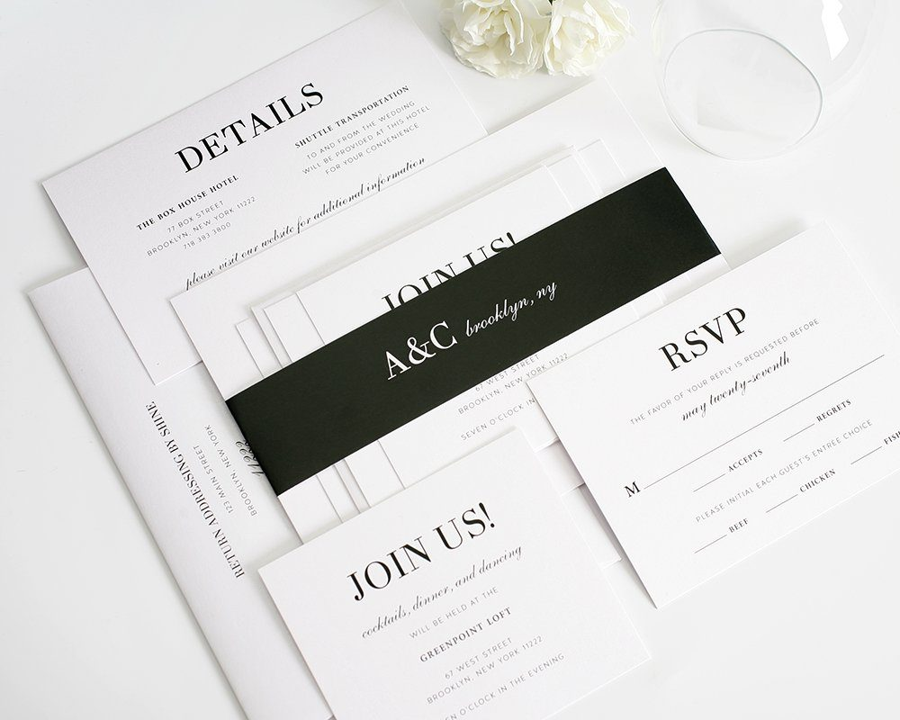 Glamorous Black and White Wedding Invitations – Wedding ...