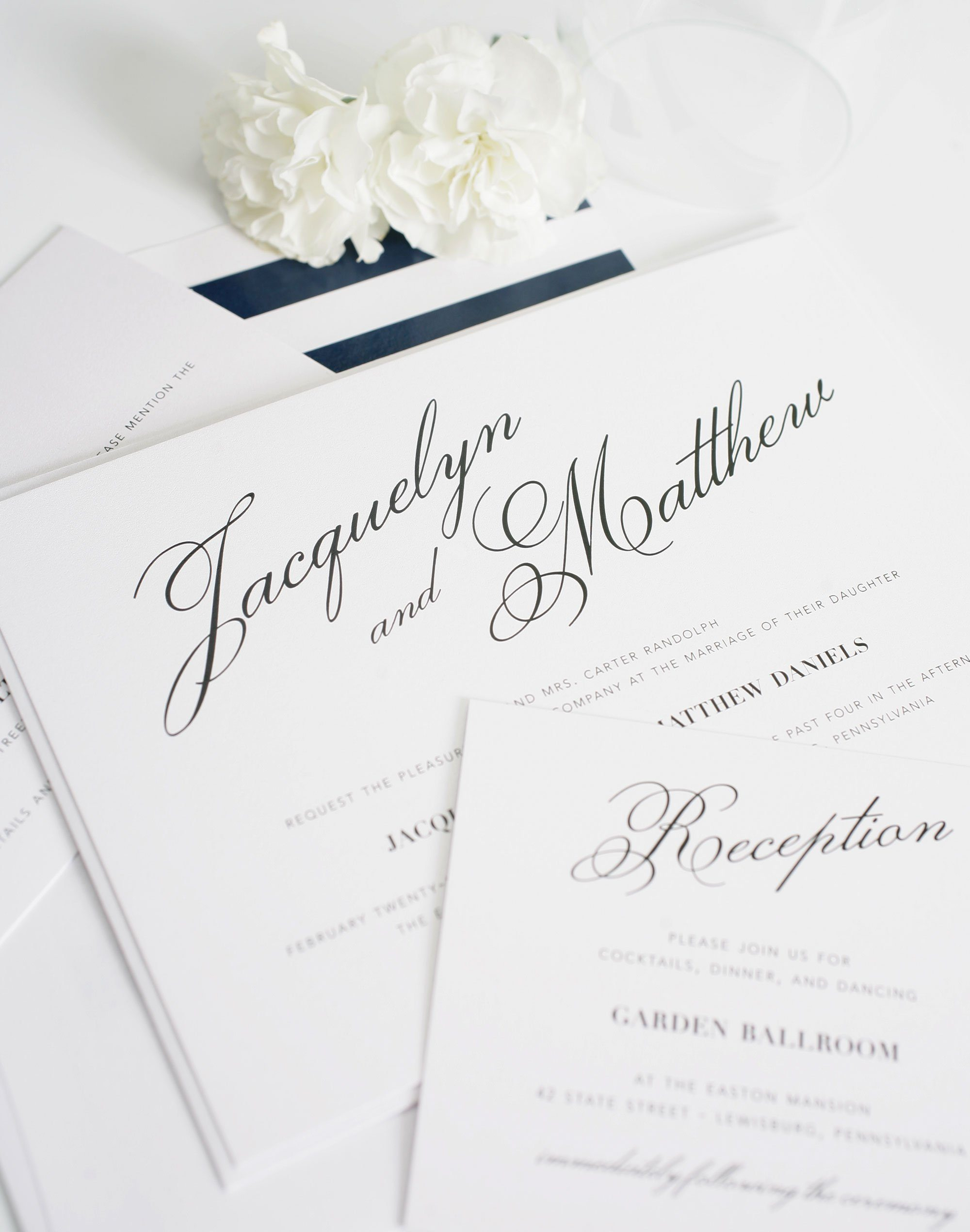 Calligraphy wedding invitations with big names