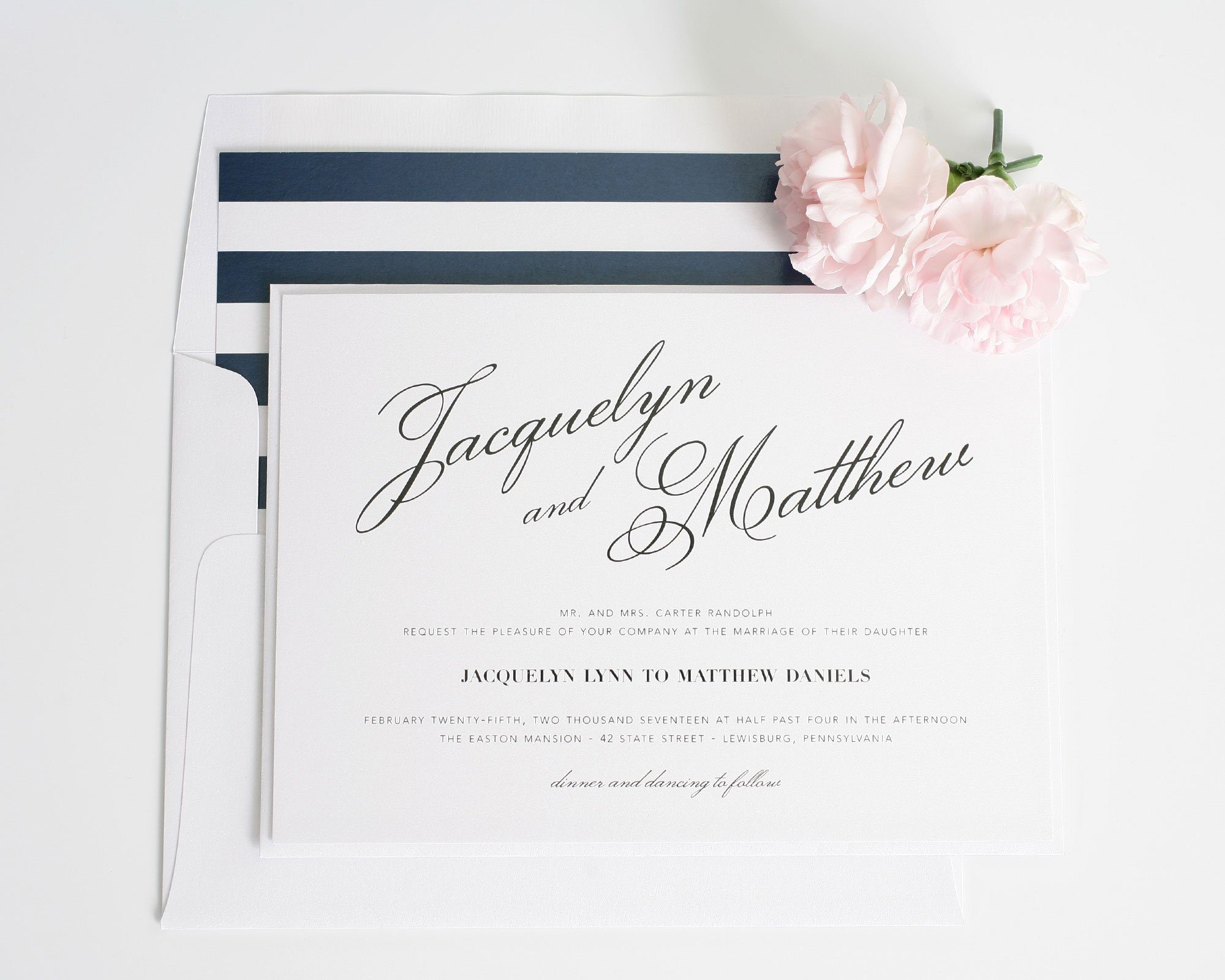 Vintage Romantic Wedding Invitations with navy stripes