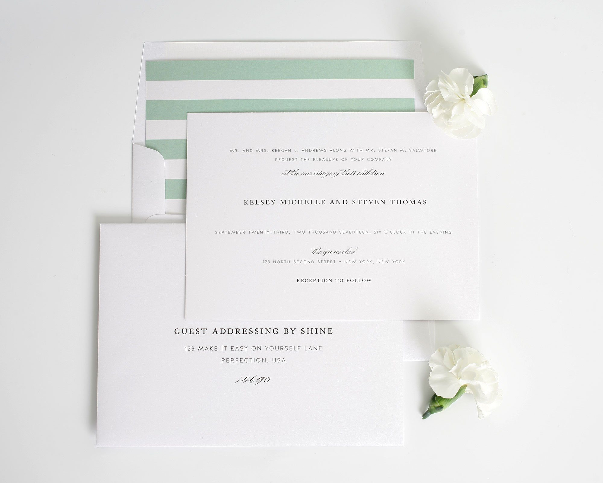Classic Elegant wedding invite with soft jade stripes
