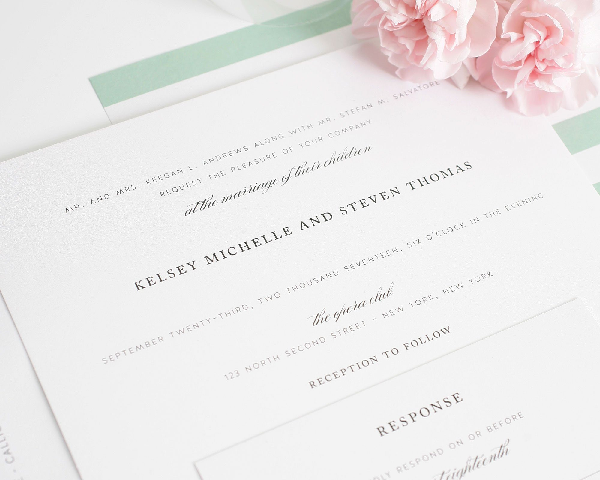 Classic wedding invitations with mint stripes