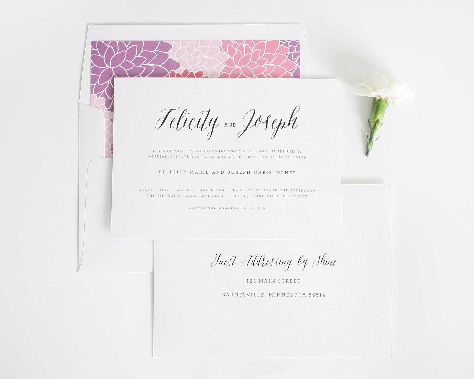 Rustic wedding invitation with floral pattern