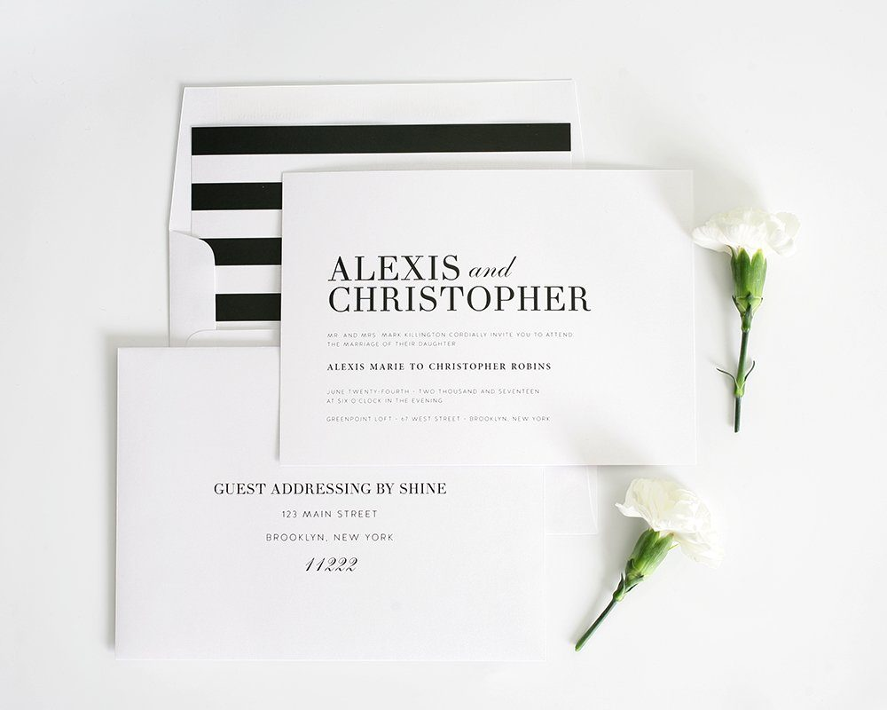 classic wedding invitation with black and white stripes