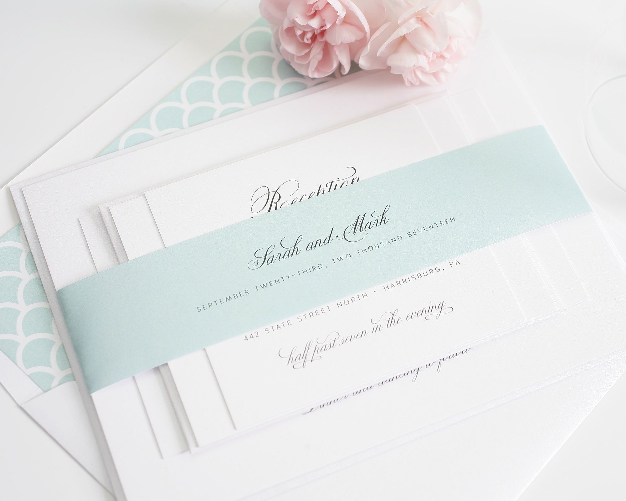 mint + scallop wedding inspiration – wedding invitations, Wedding invitations