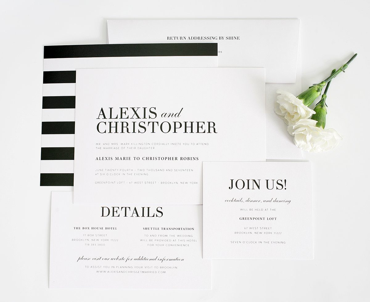 Modern Typography Wedding Invitations in Black and White
