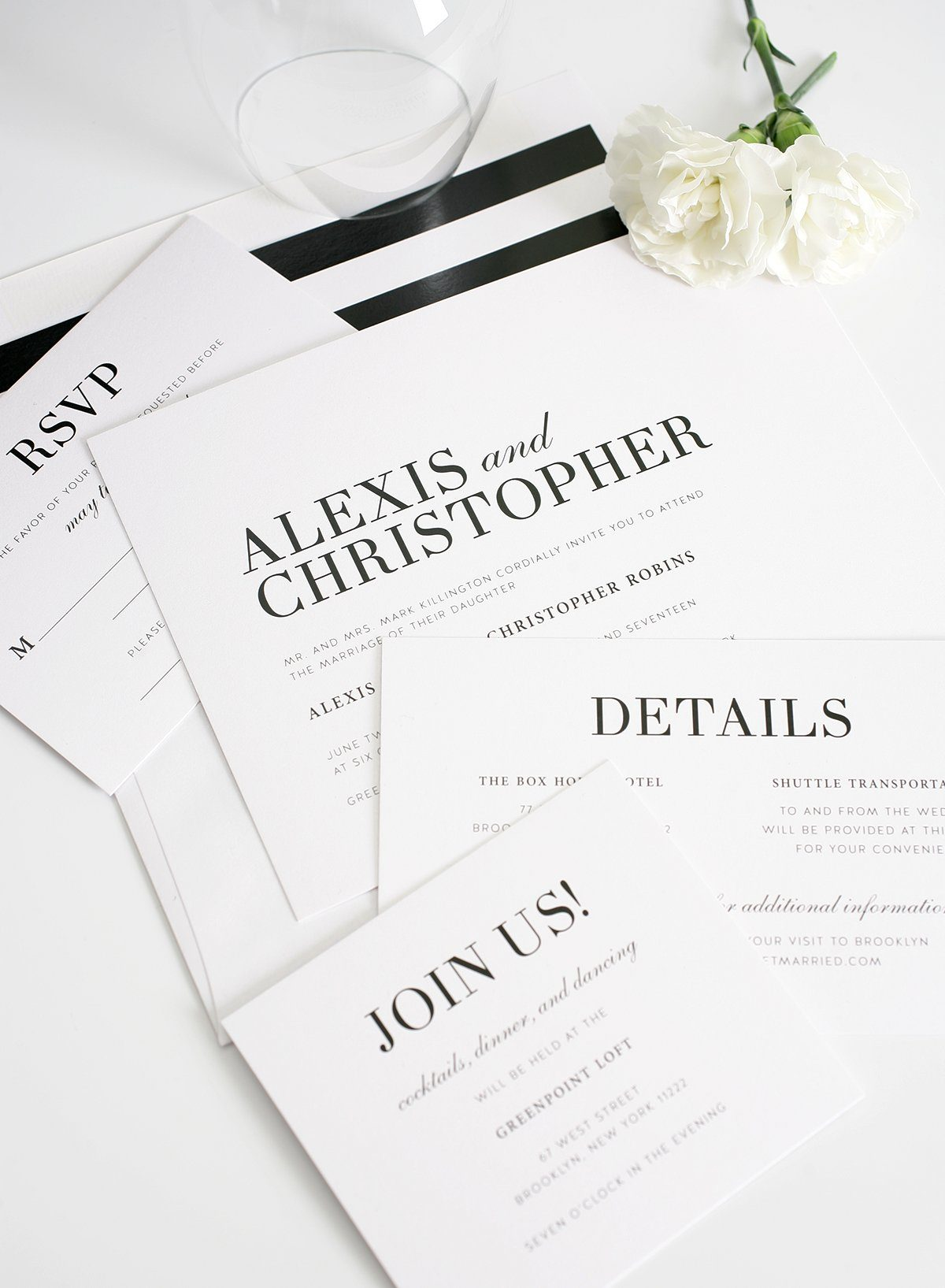 Mordern black and white wedding invites