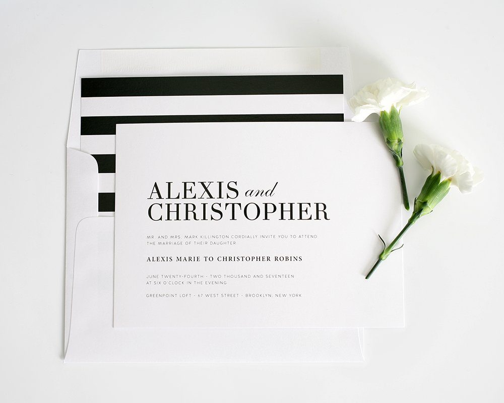 Mordern Black And White Wedding Invites Black And White Striped Wedding  Invitation