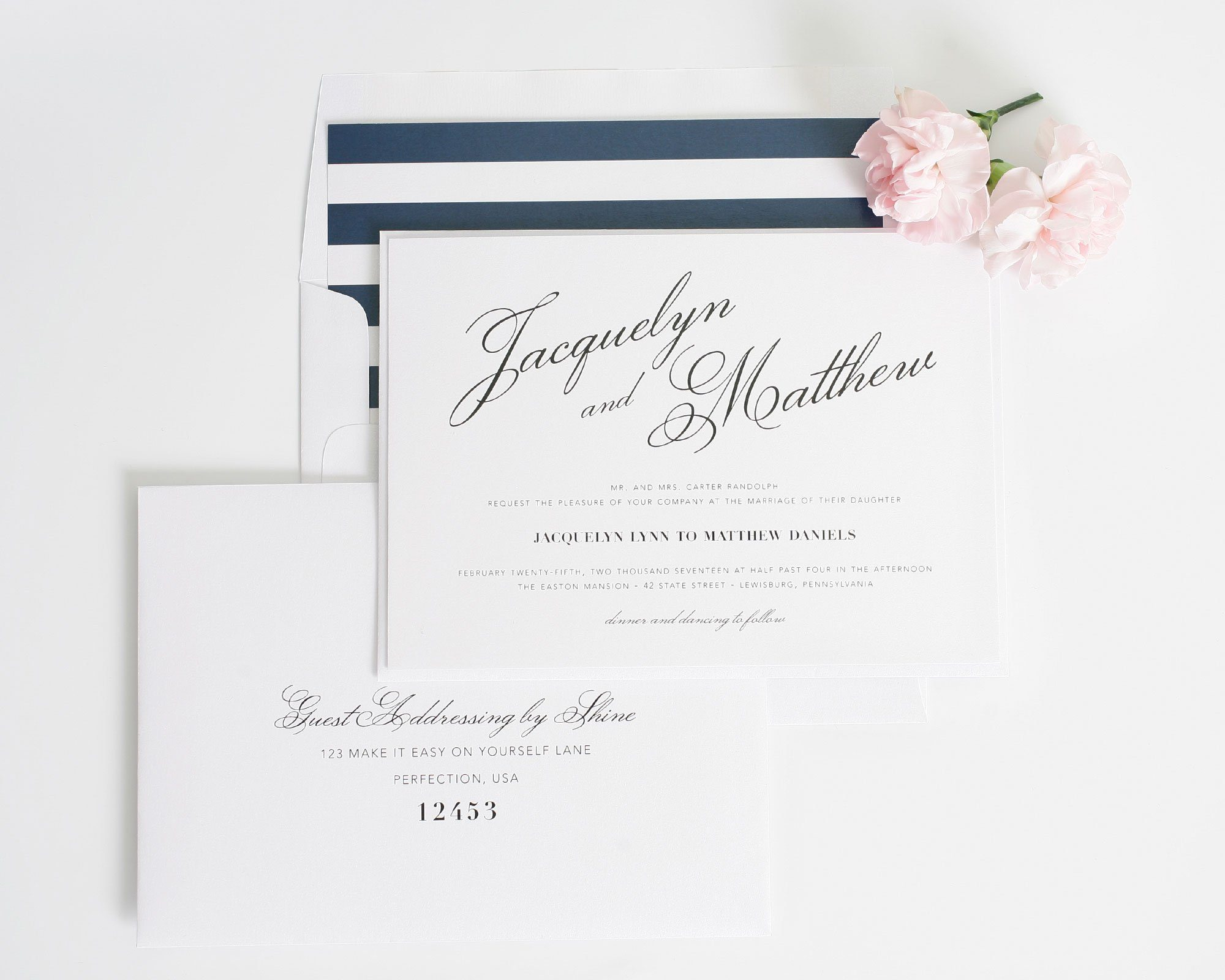 Calligraphy wedding invitations with navy stripes