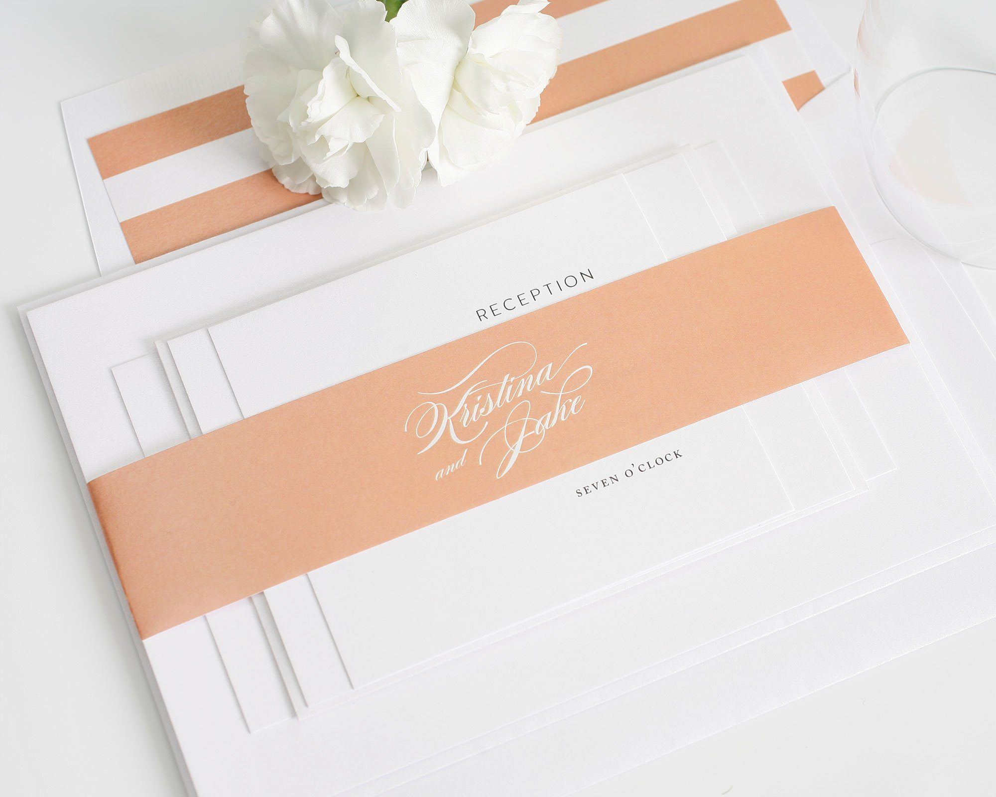 Peach Wedding Invitations with Stripes