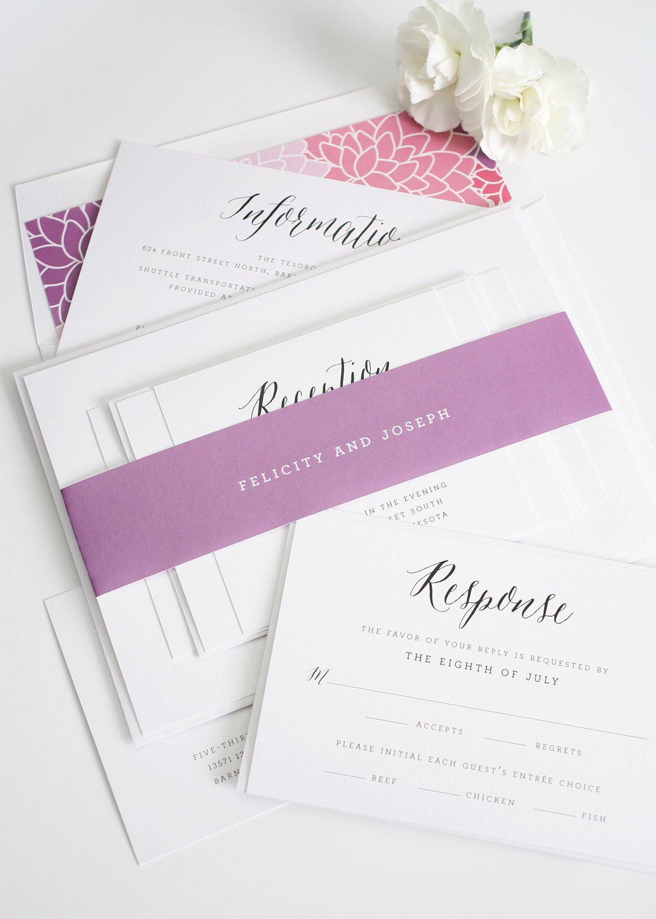Whimsical Calligraphy wedding invitations with floral