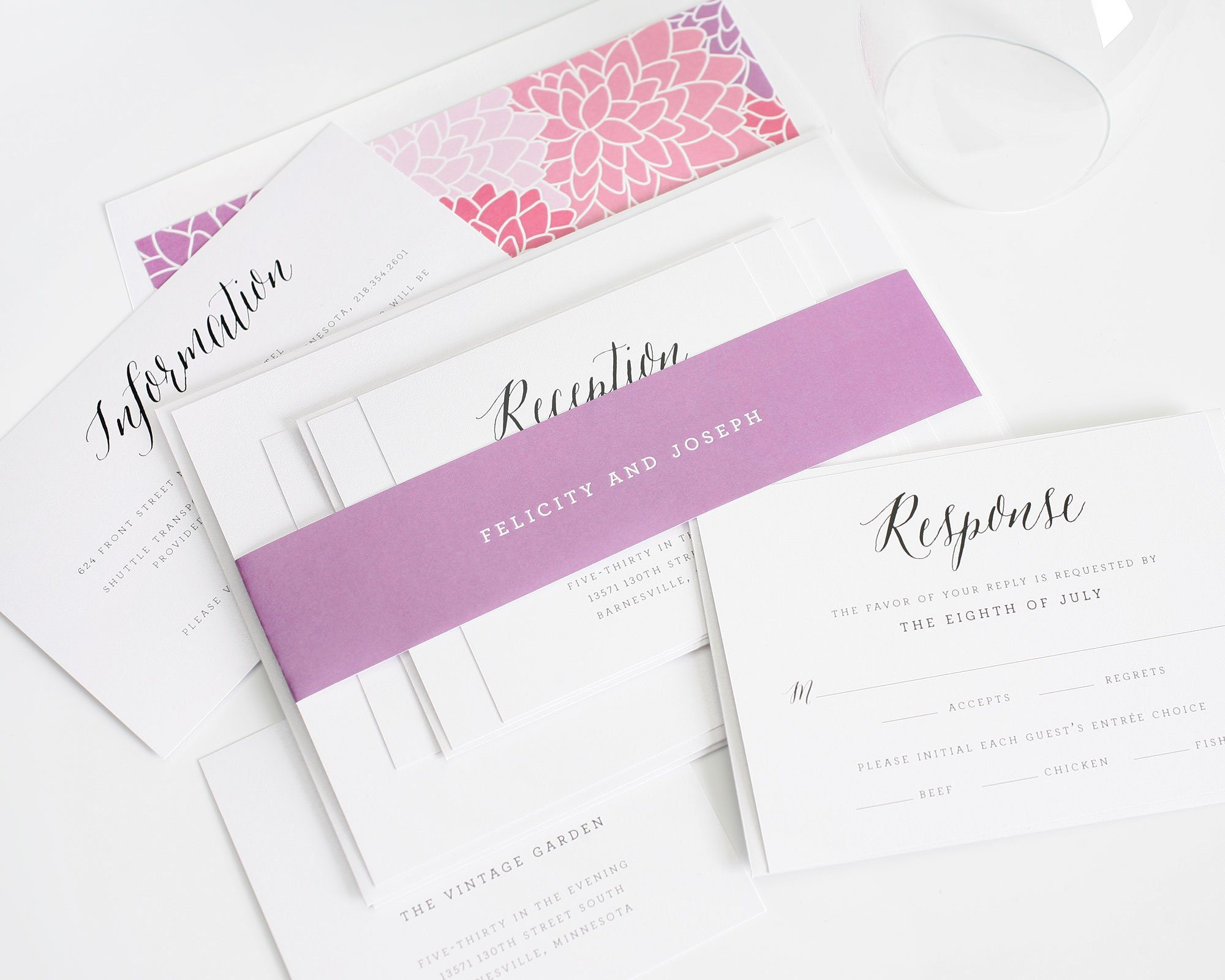 rustic Radiant orchid wedding invitations