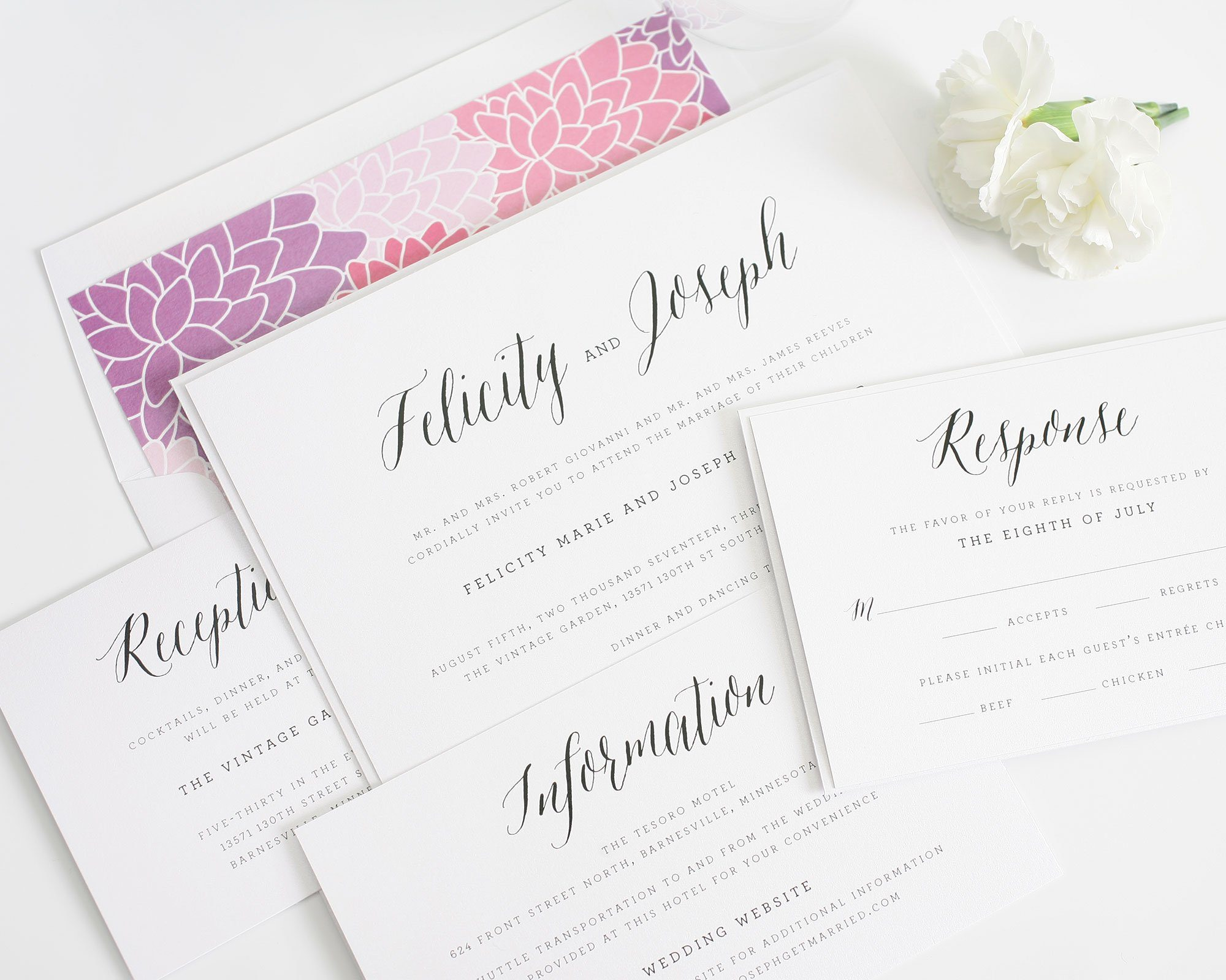 Rustic floral wedding invitation with purple dahlias