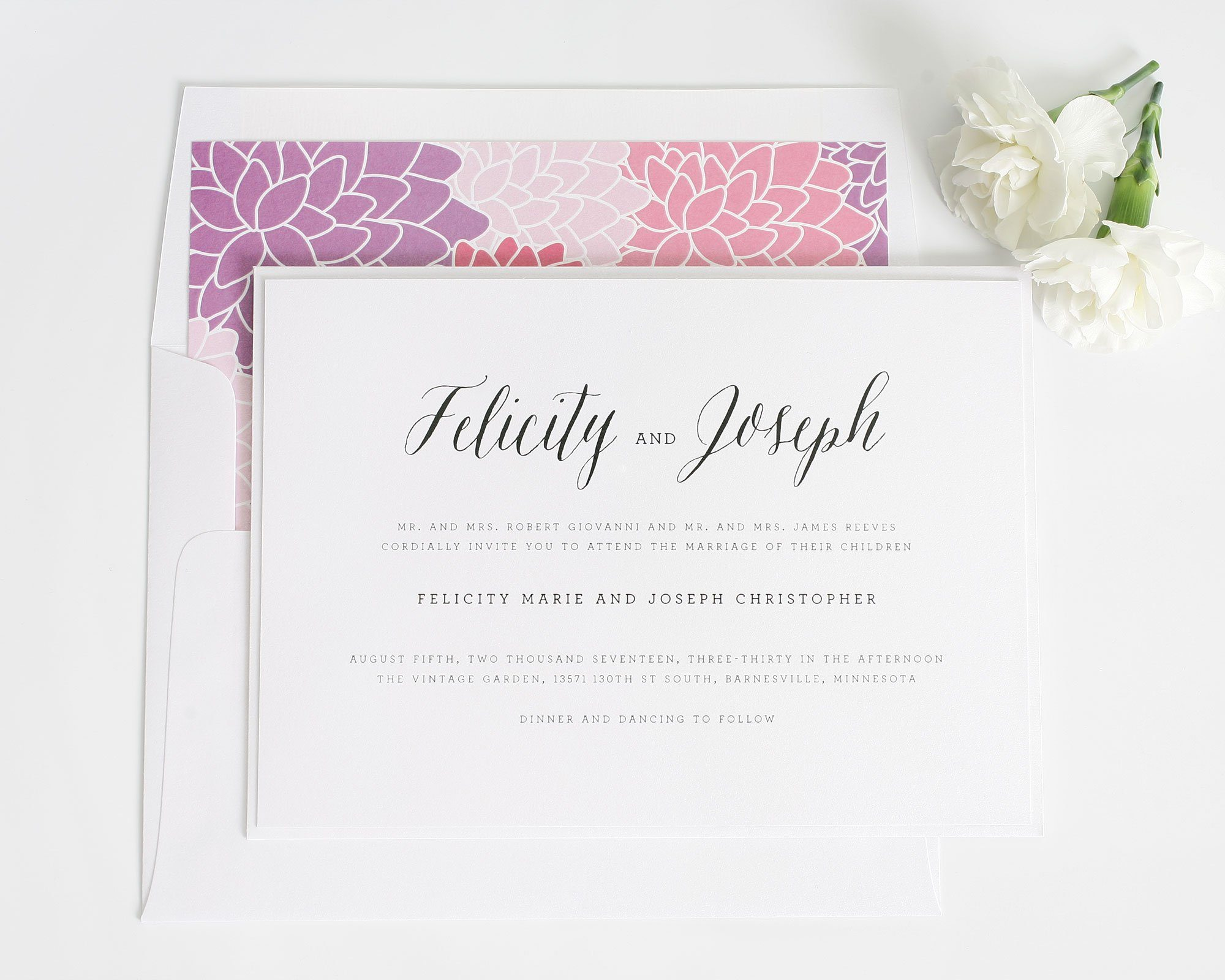 Whimsical Rustic Romance Wedding Invitation With Floral Accents Wedding Invitations