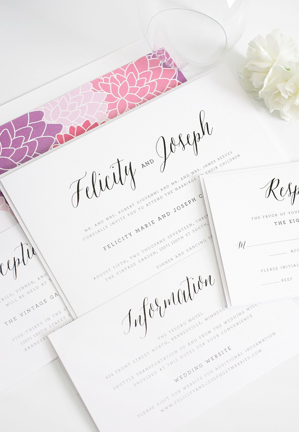 Rustic wedding invitation with purple and pink floral pattern