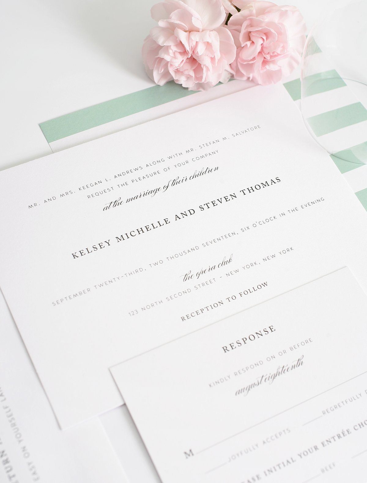 Timeless wedding invitations in sage green