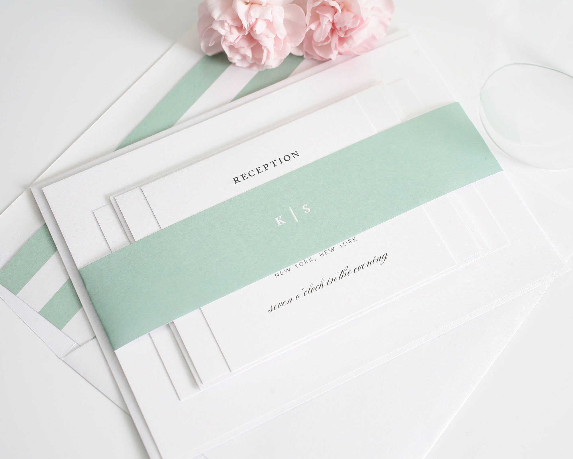 Simple wedding invitations with mint green stripes