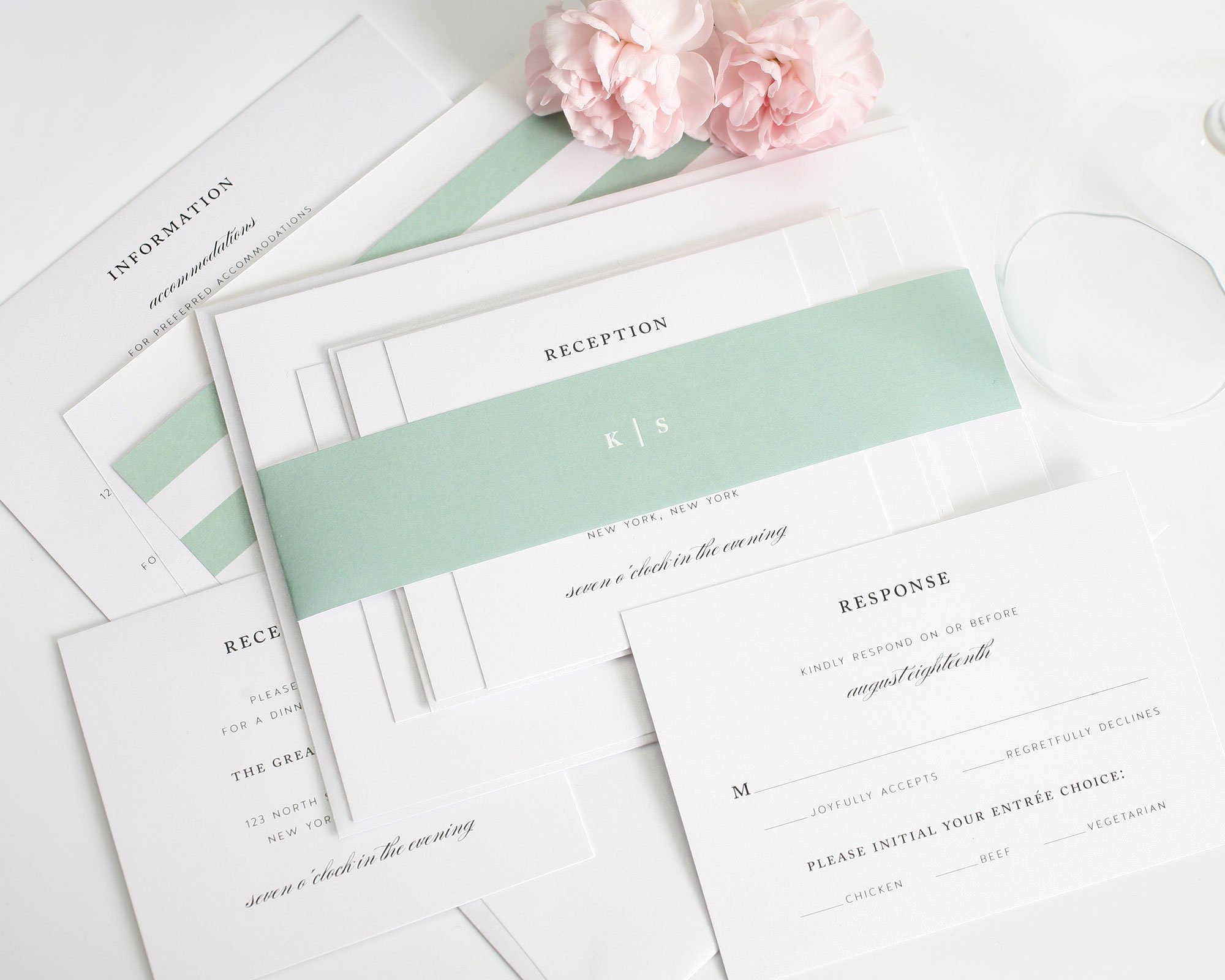 Elegant mint wedding invitations
