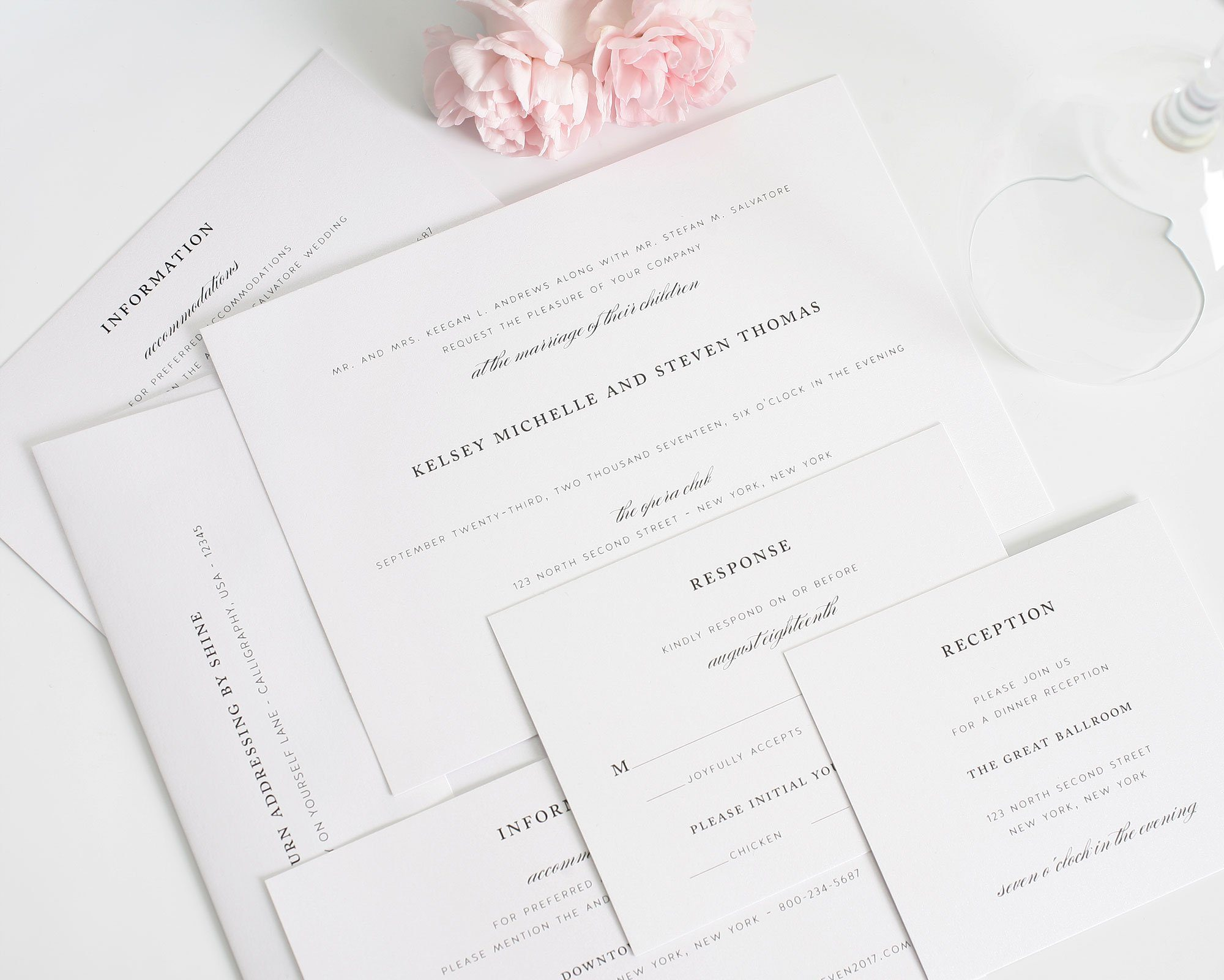 elegant wedding invitations suite with timeless font